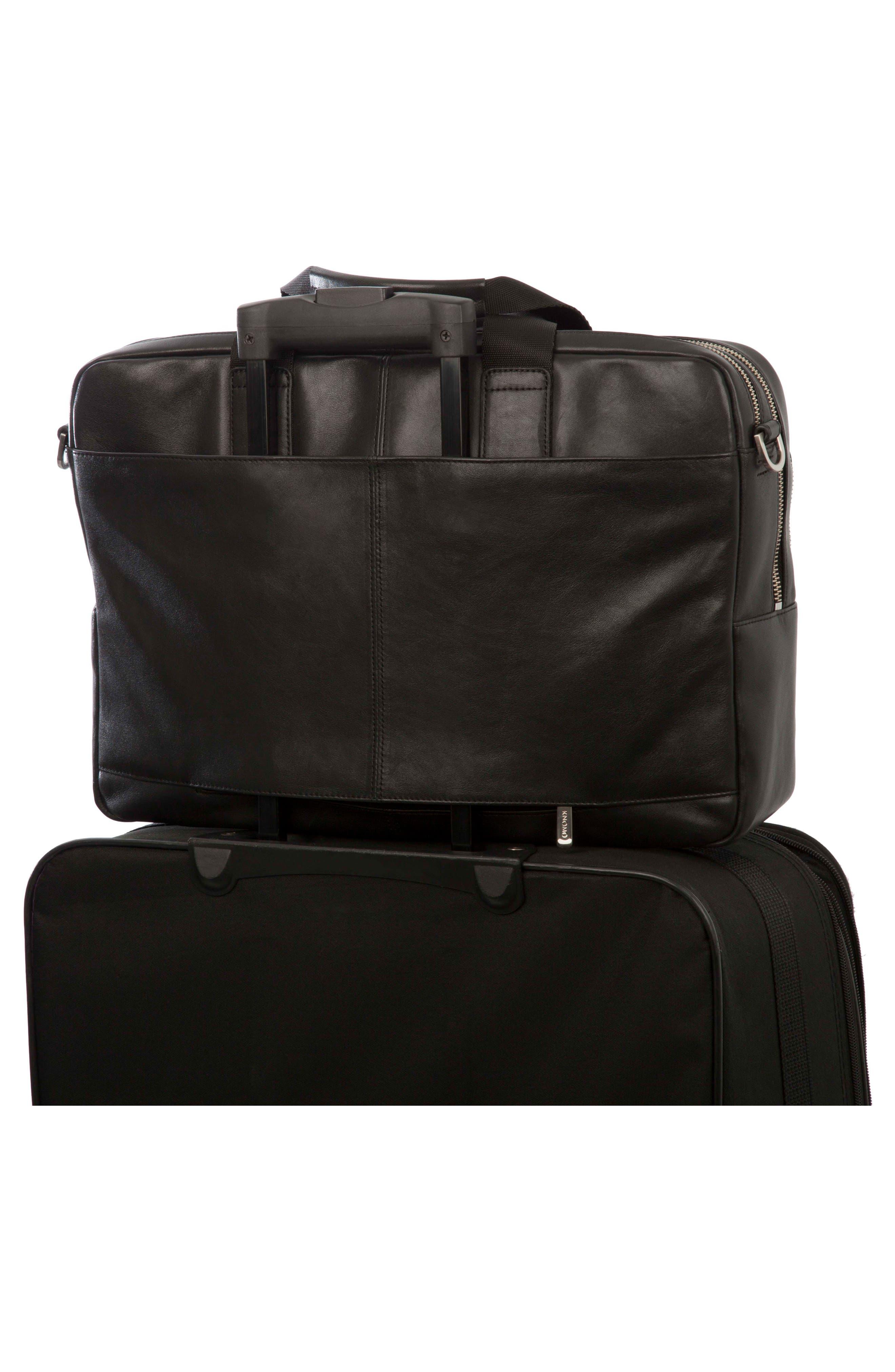 Brompton Amesbury Leather Briefcase,                             Alternate thumbnail 4, color,                             BLACK