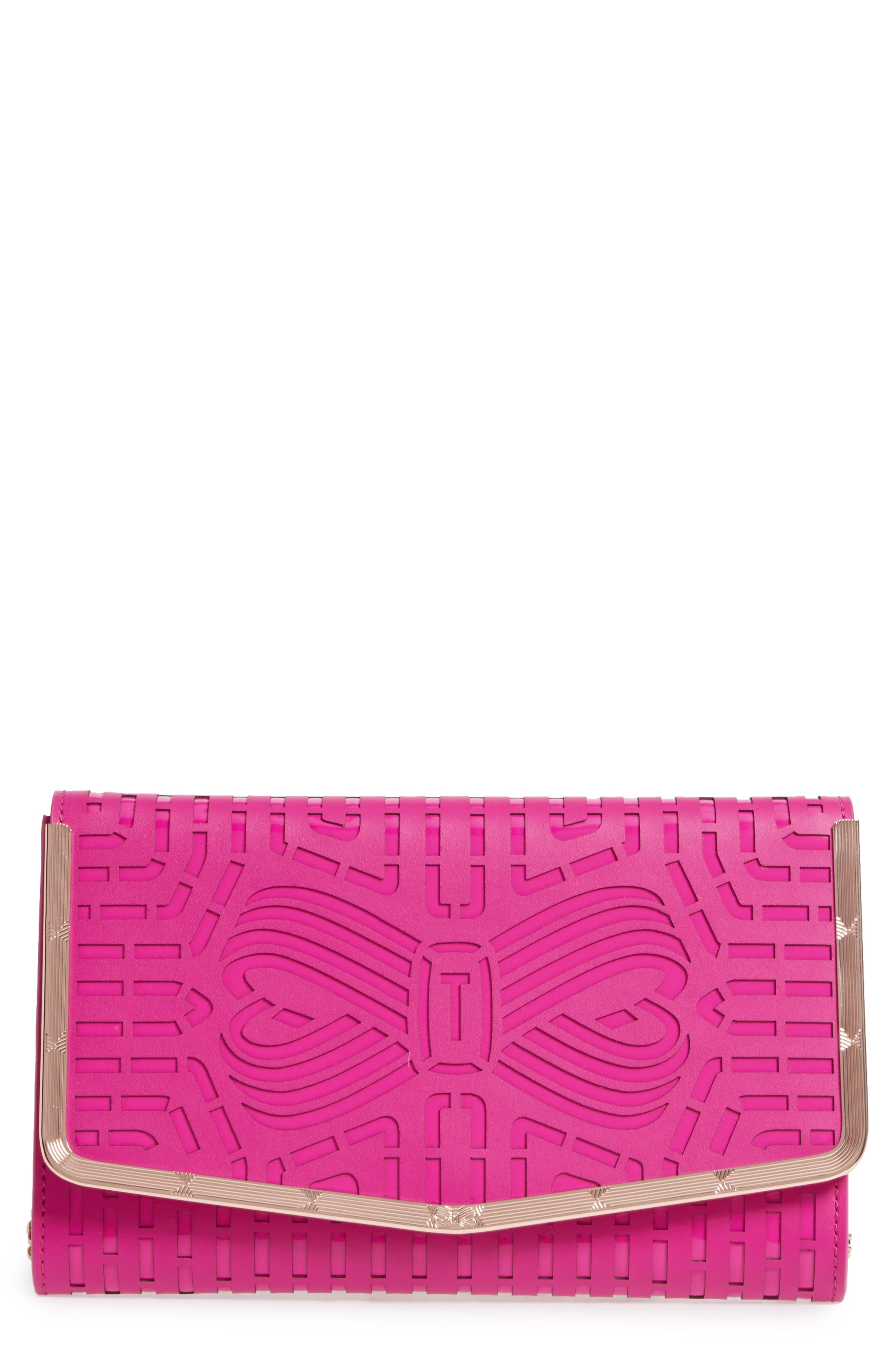 Bree Laser Cut Bow Leather Clutch,                             Main thumbnail 4, color,