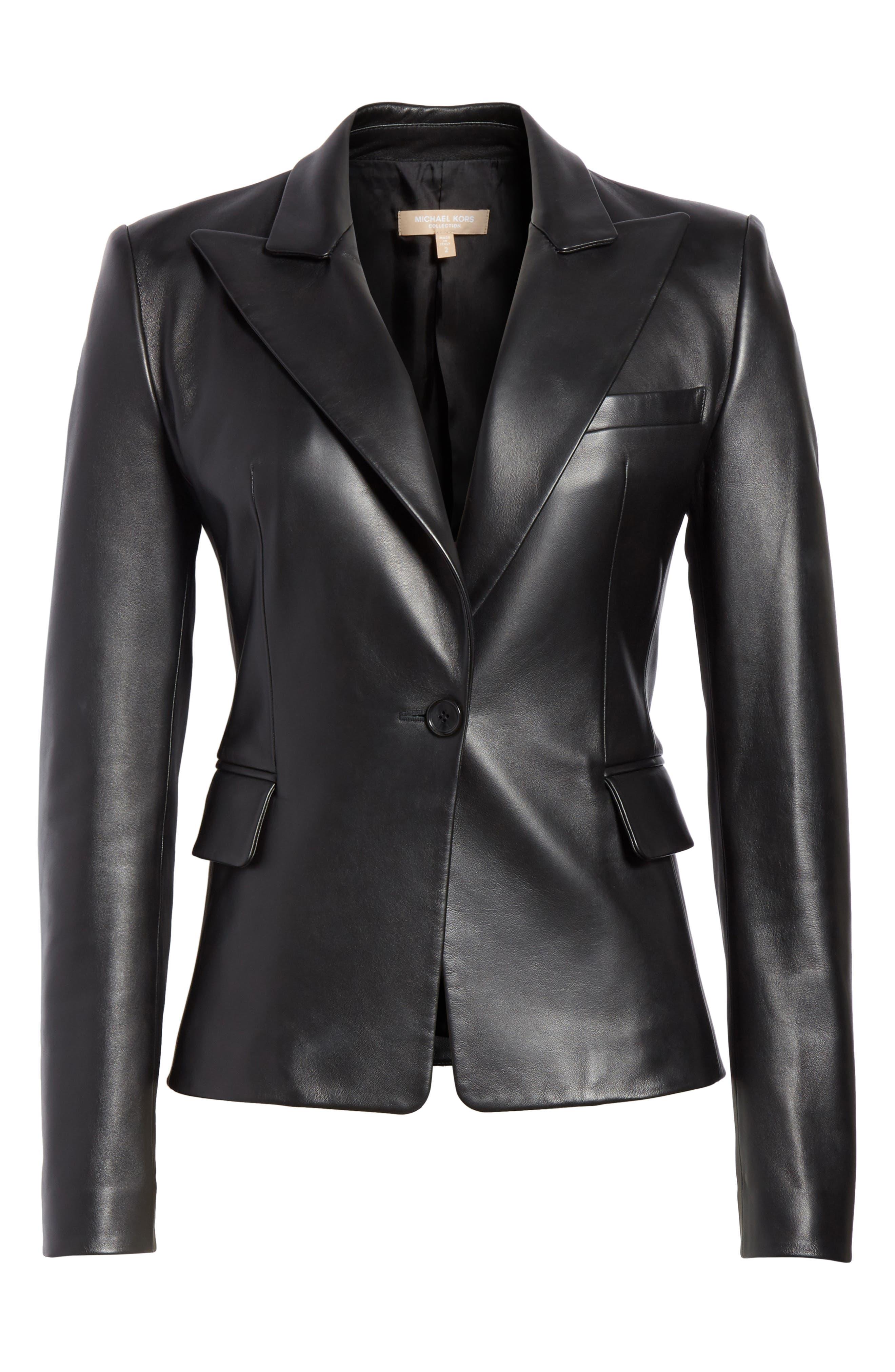 Plongé Leather Jacket,                             Alternate thumbnail 5, color,                             BLACK