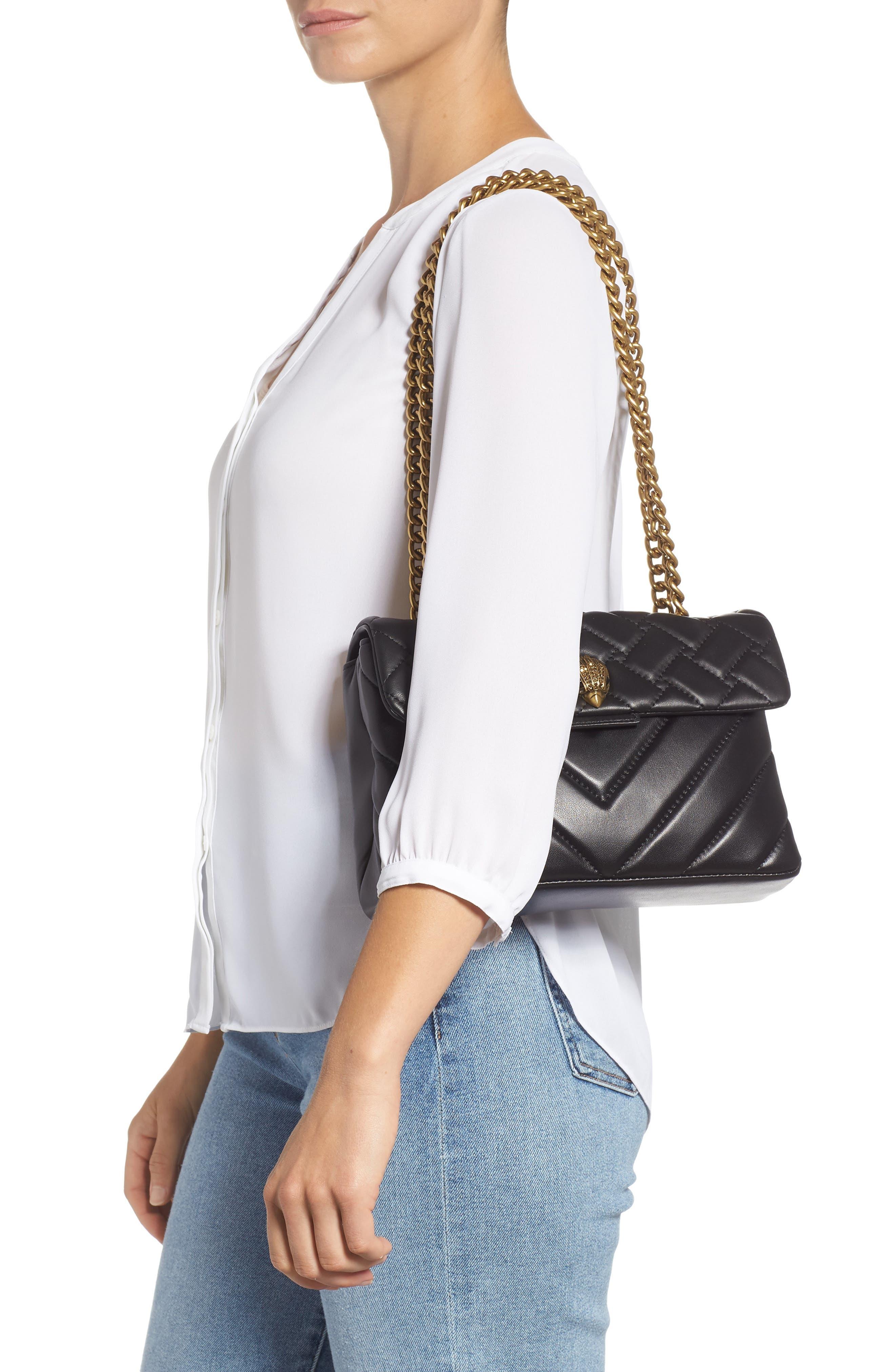 KURT GEIGER LONDON,                             Kensington Quilted Leather Shoulder Bag,                             Alternate thumbnail 2, color,                             BLACK