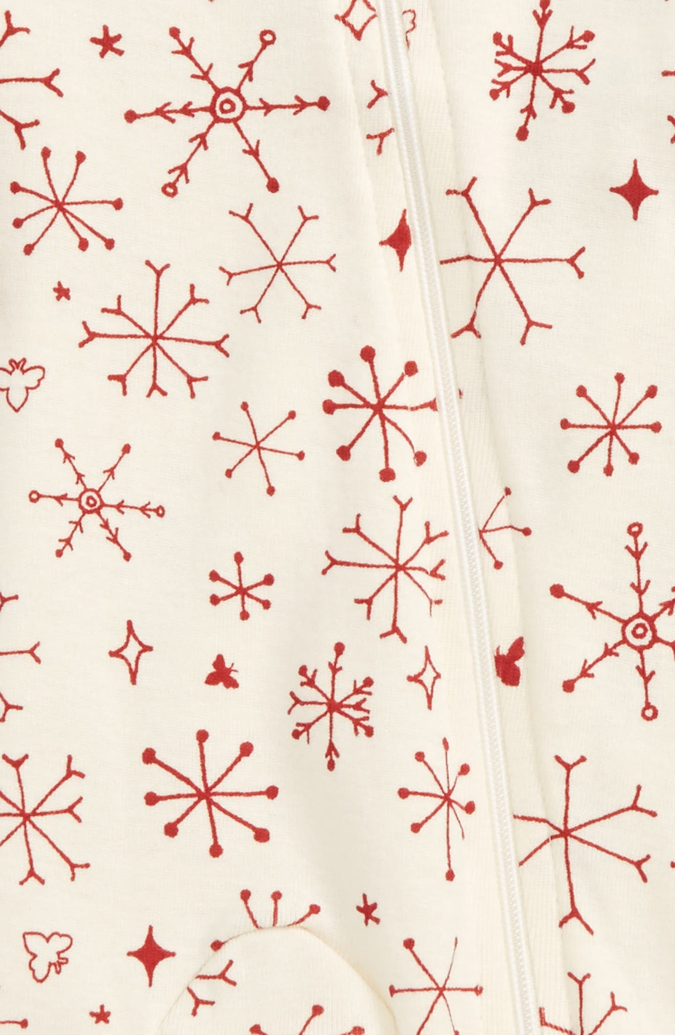 BURT'S BEES BABY,                             Falling Snowflakes Fitted One-Piece Pajamas,                             Alternate thumbnail 2, color,                             900