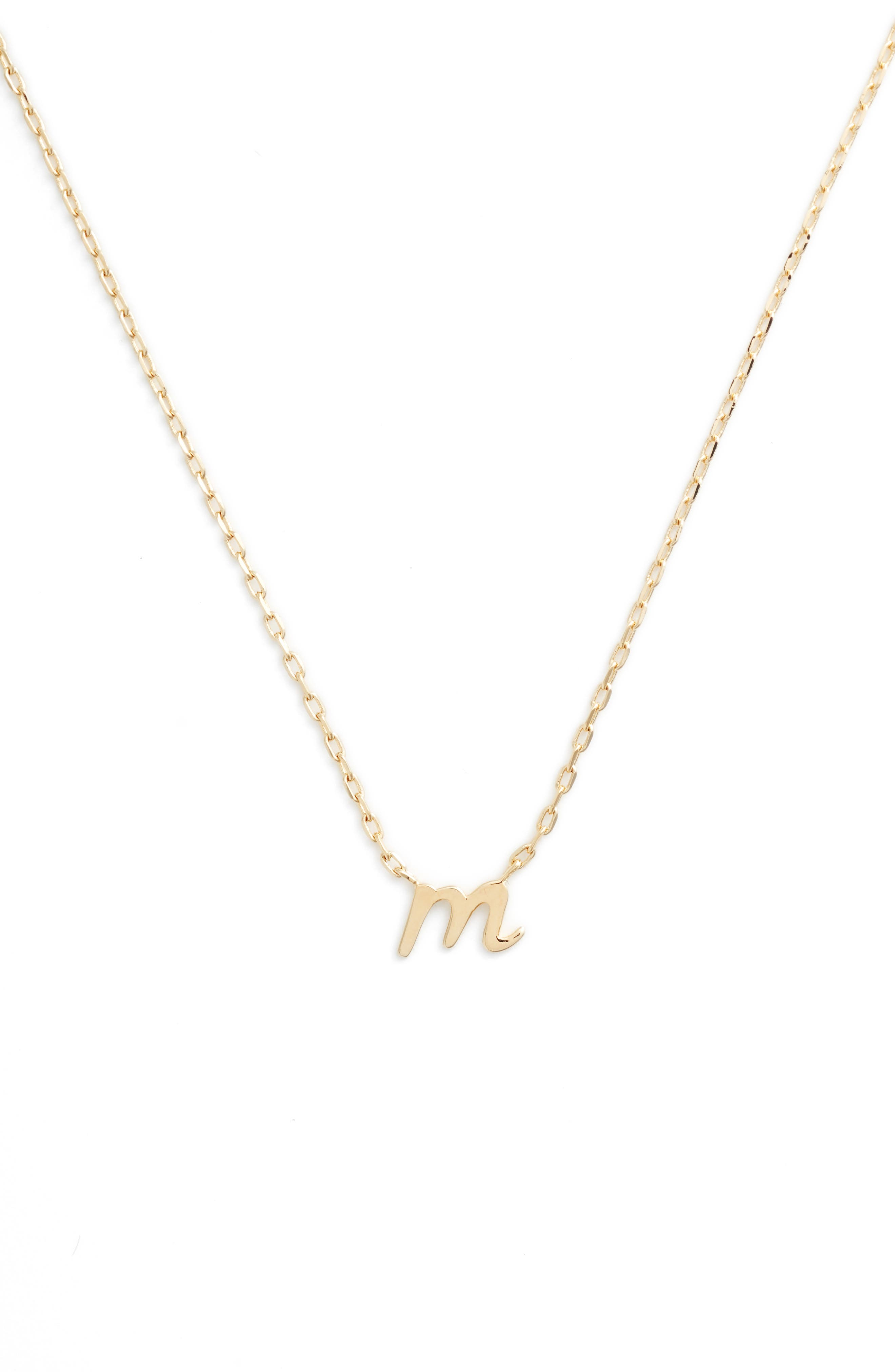 kate spade one in a million initial pendant necklace,                         Main,                         color, M-GOLD