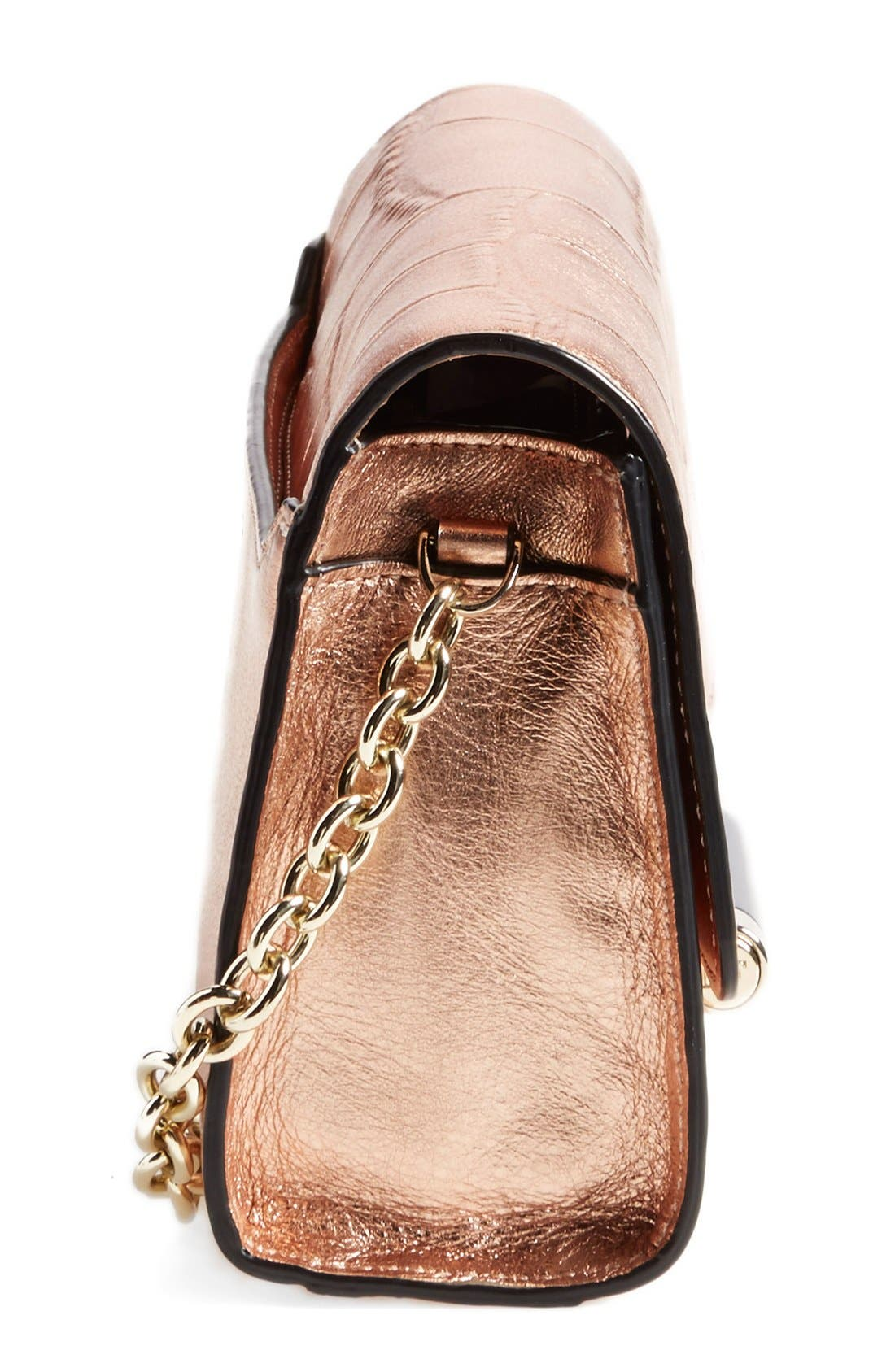 'Micro Mini 440' Croc Embossed Metallic Leather Crossbody Bag,                             Alternate thumbnail 5, color,                             711