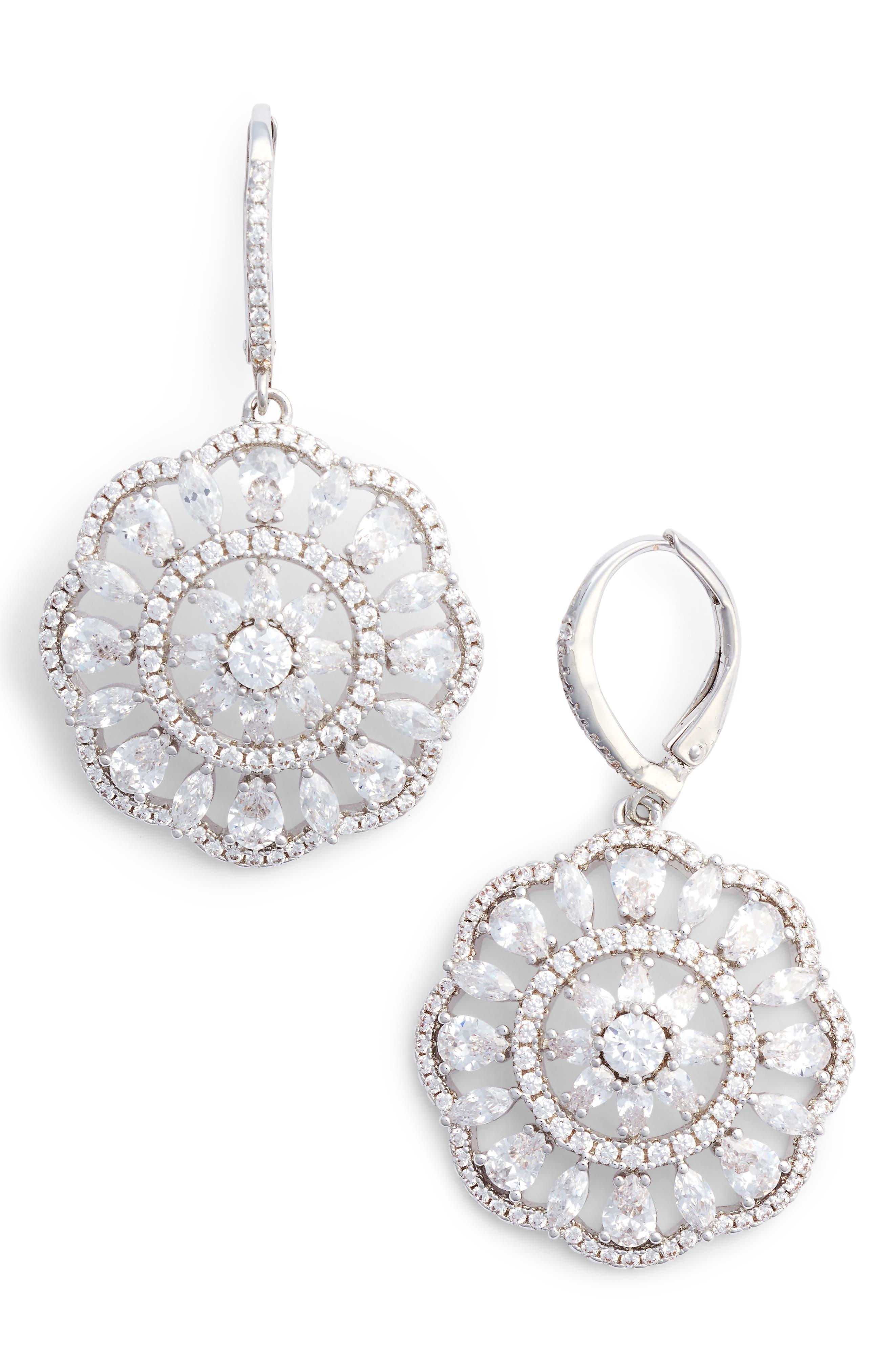 Sunburst Drop Earrings,                         Main,                         color, SILVER/ WHITE CZ