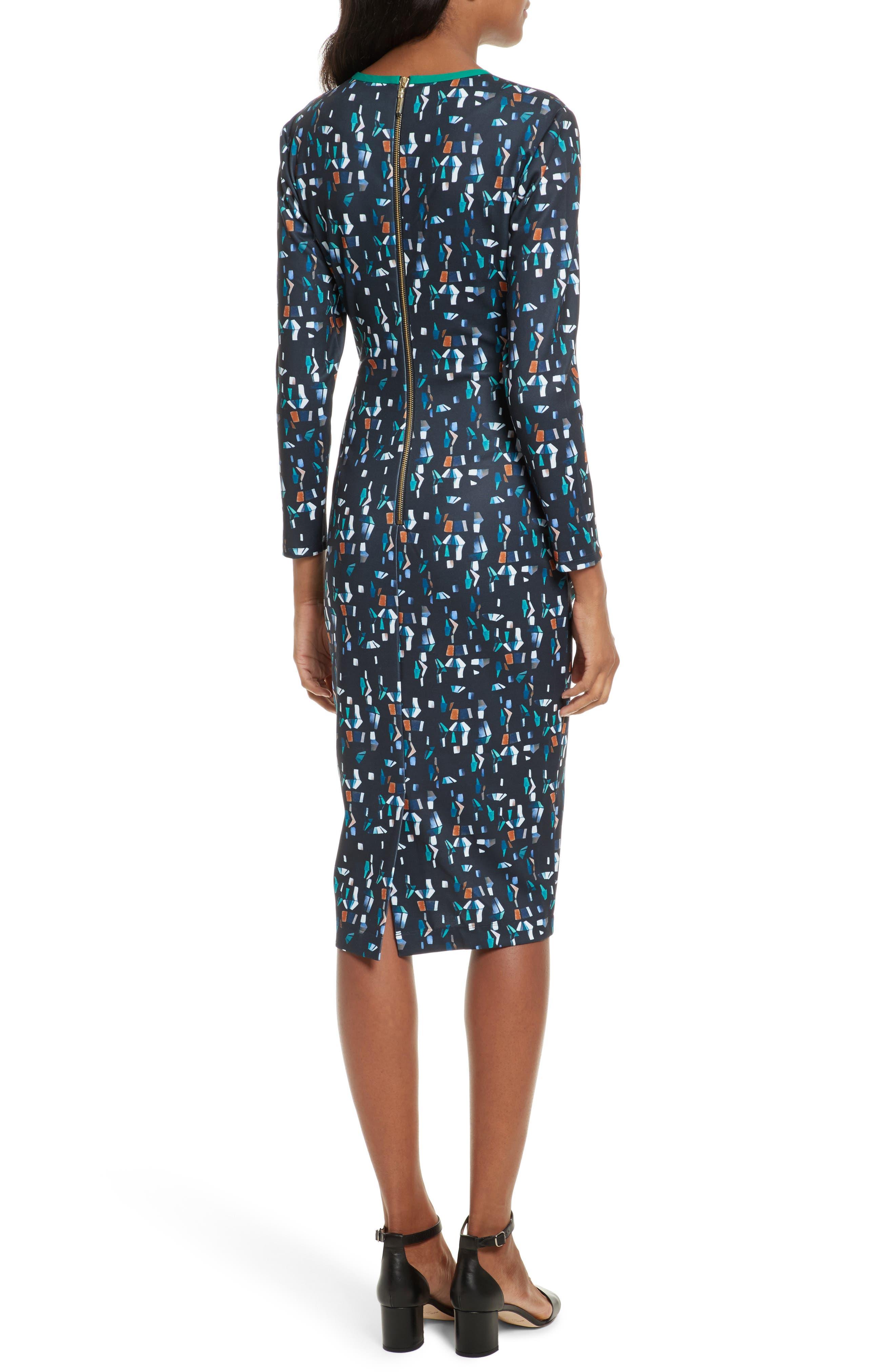 Kielder Print Body-Con Dress,                             Alternate thumbnail 2, color,                             410
