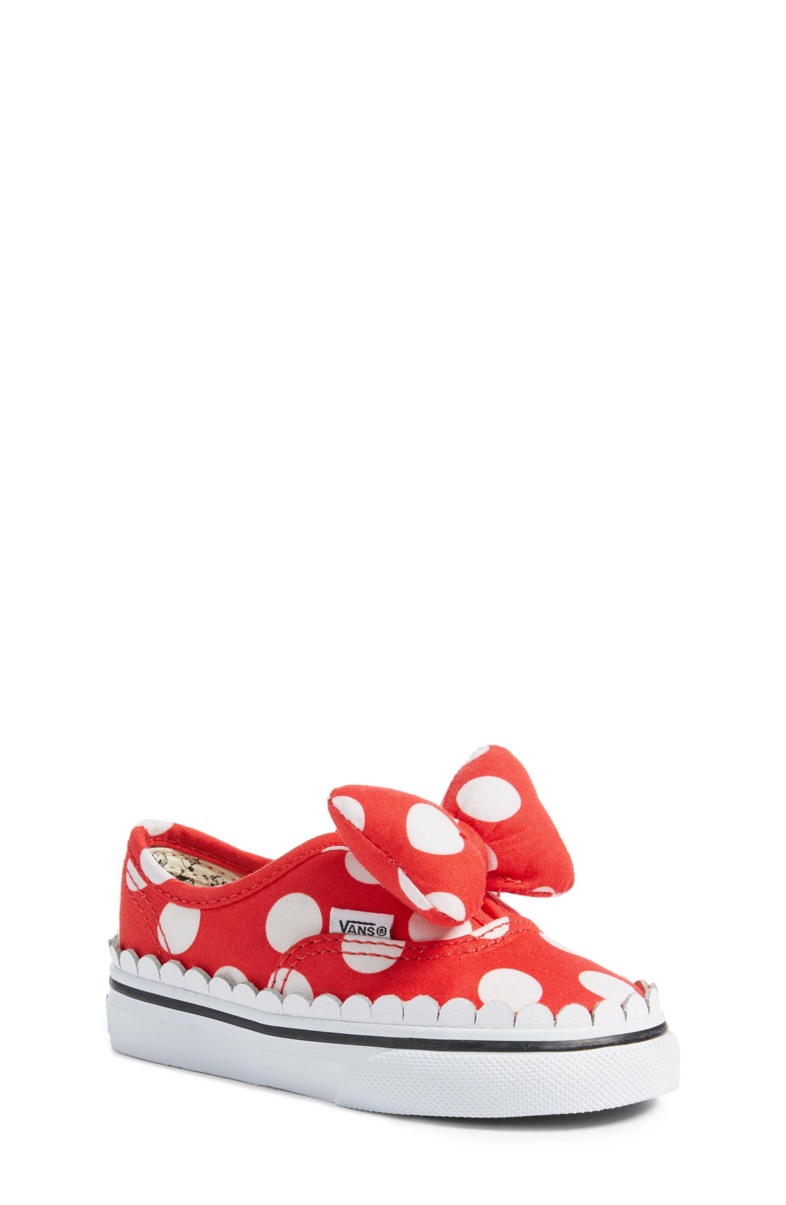 x Disney Authentic Gore Minnie Mouse Bow Slip-On Sneaker,                             Main thumbnail 1, color,                             DISNEY MINNIE BOW TRUE WHITE