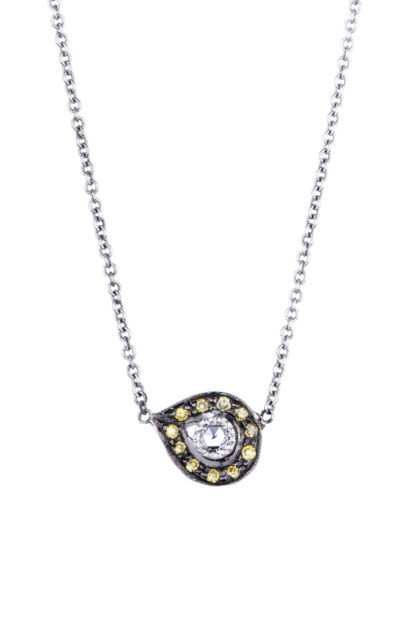 SETHI COUTURE Diamond Plume Pendant Necklace in Green Diamond