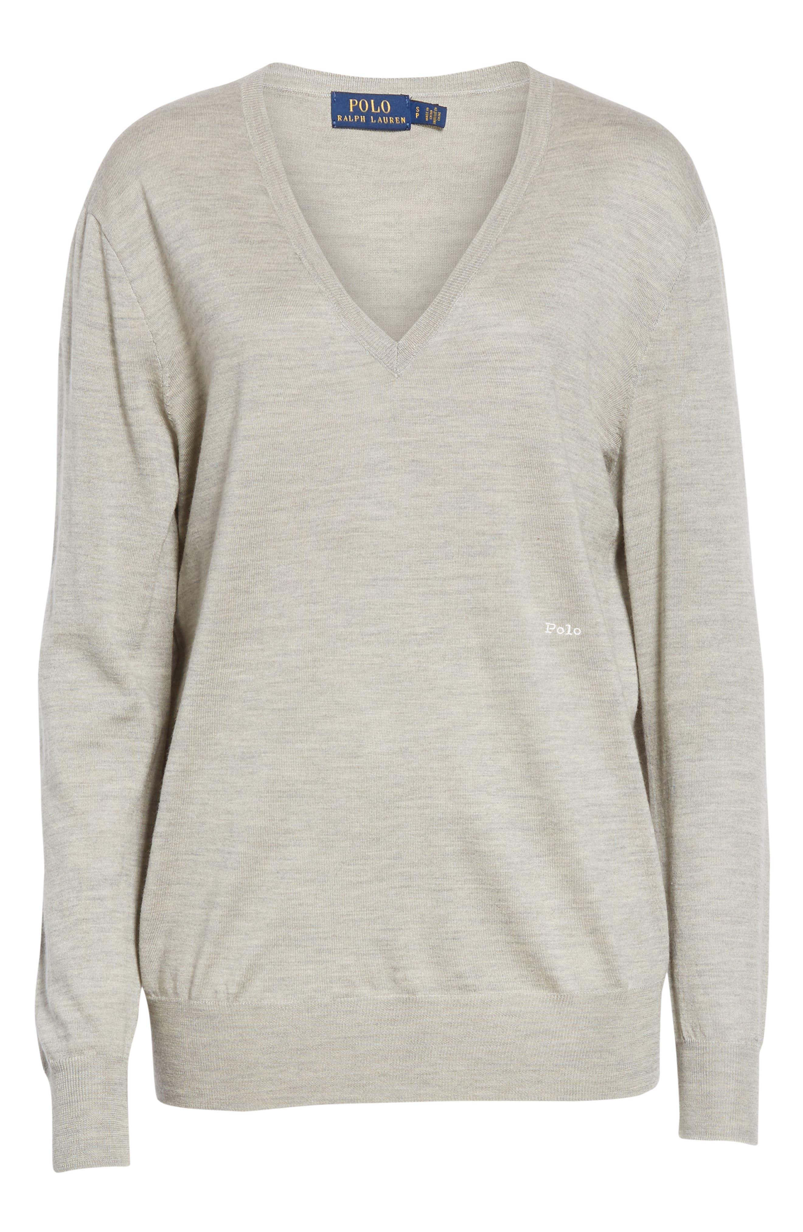 POLO RALPH LAUREN,                             V-Neck Wool, Silk & Cashmere Sweater,                             Alternate thumbnail 6, color,                             LIGHT VINTAGE HEATHER