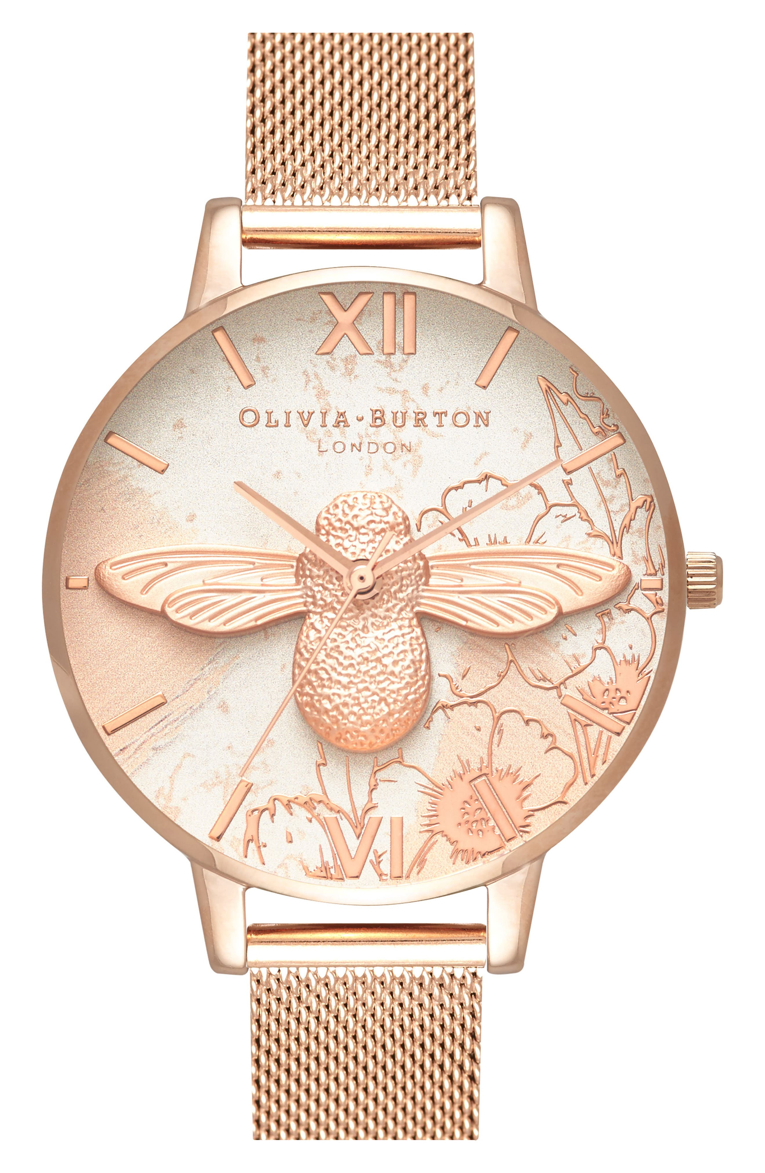 Abstract Floral Mesh Strap Watch, 38mm,                             Main thumbnail 1, color,                             ROSE GOLD/ FLORAL/ ROSE GOLD