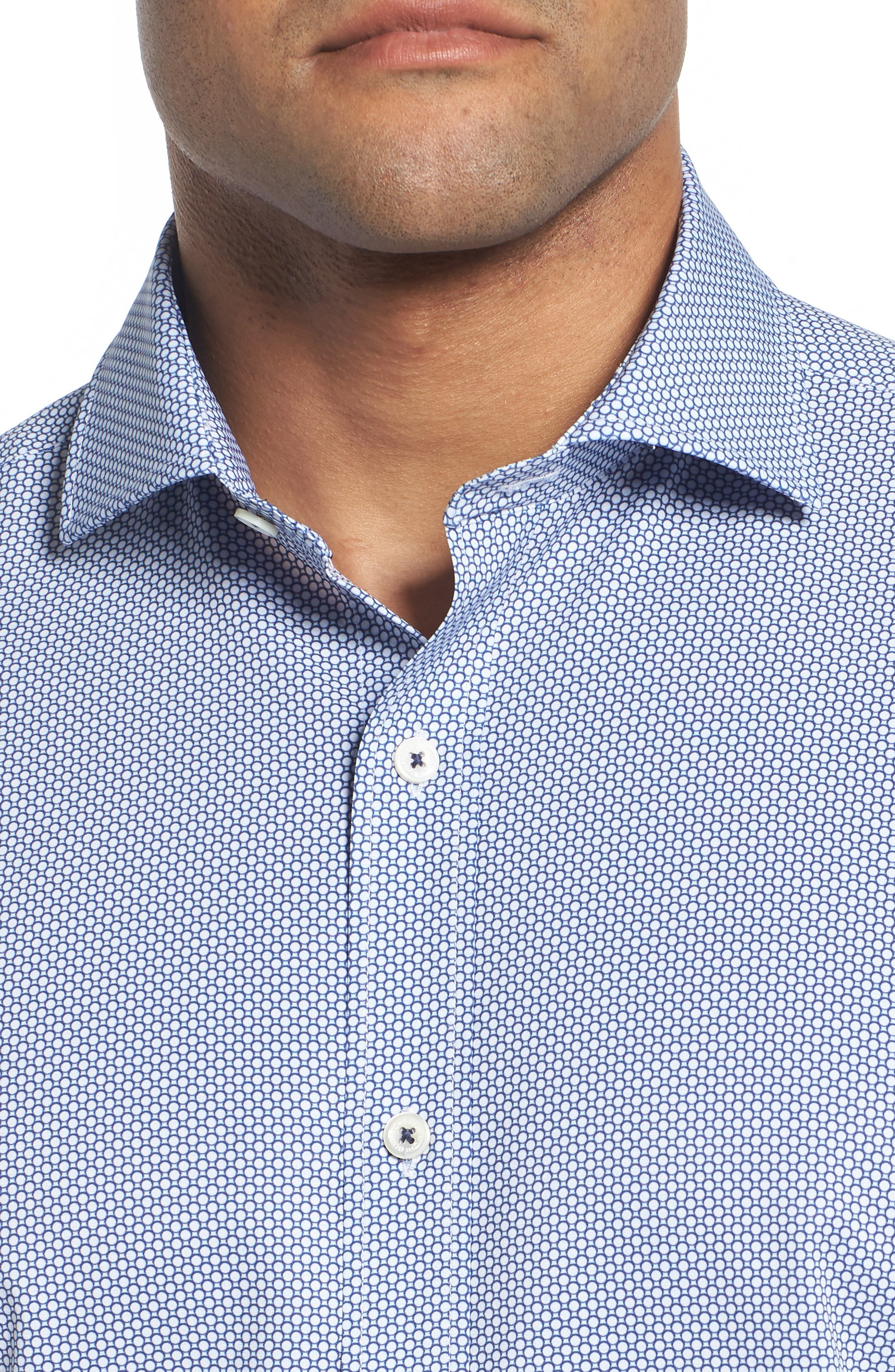 BUGATCHI,                             Classic Fit Stacked Circles Performance Sport Shirt,                             Alternate thumbnail 4, color,                             NAVY