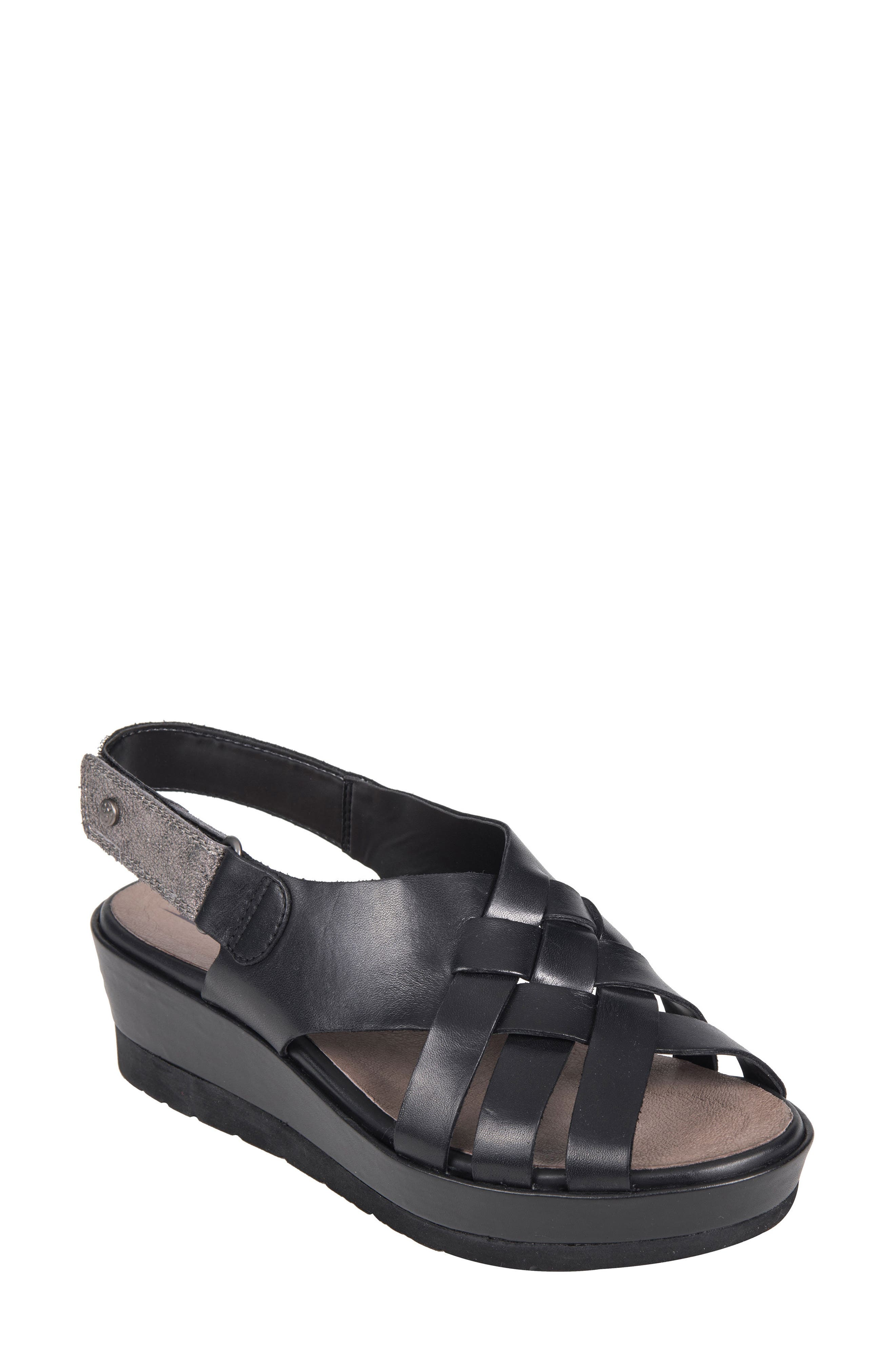 Sunflower Wedge Sandal,                         Main,                         color, BLACK LEATHER