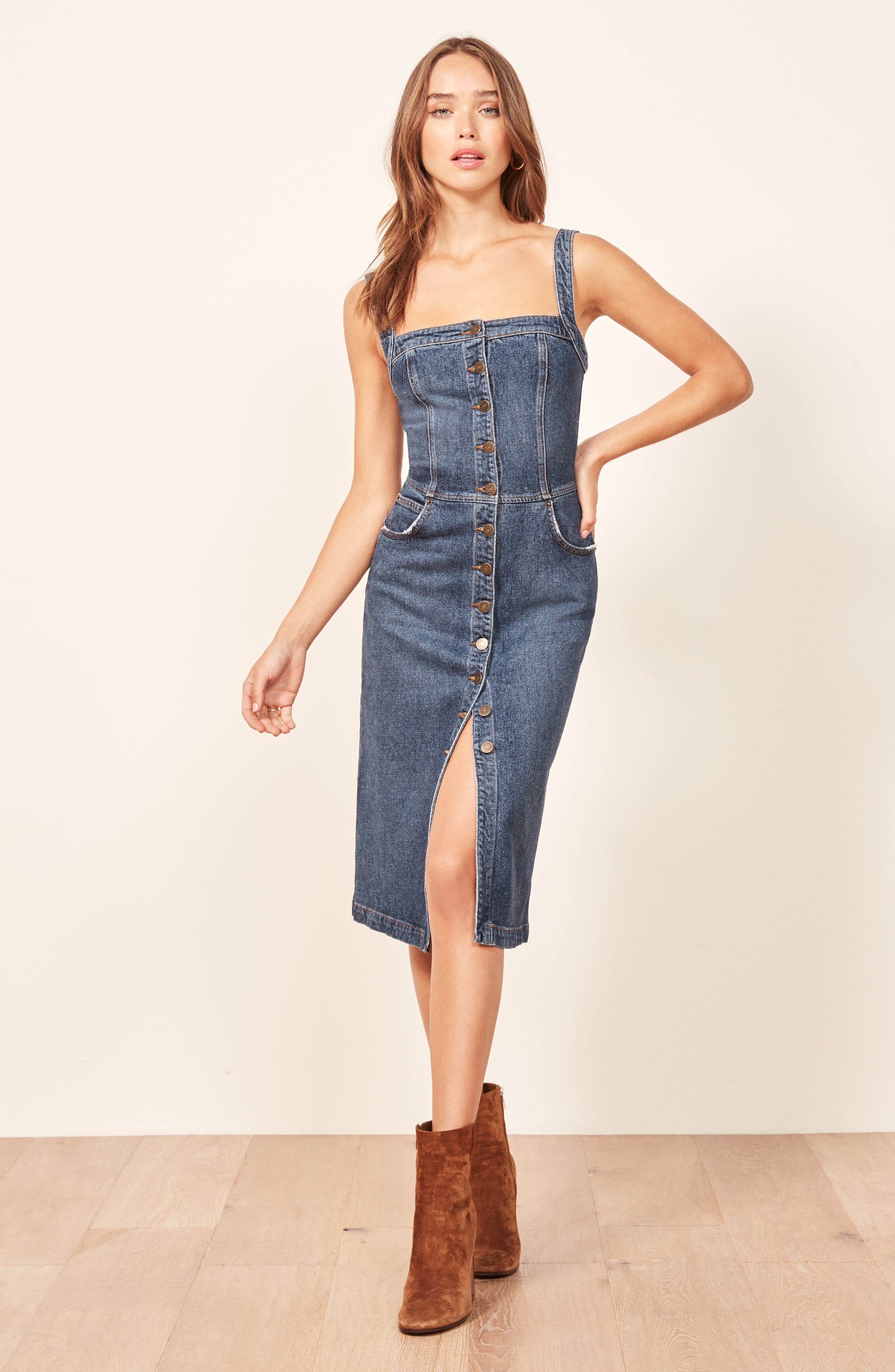 Camille Denim Overall Dress,                             Alternate thumbnail 6, color,                             KASAI