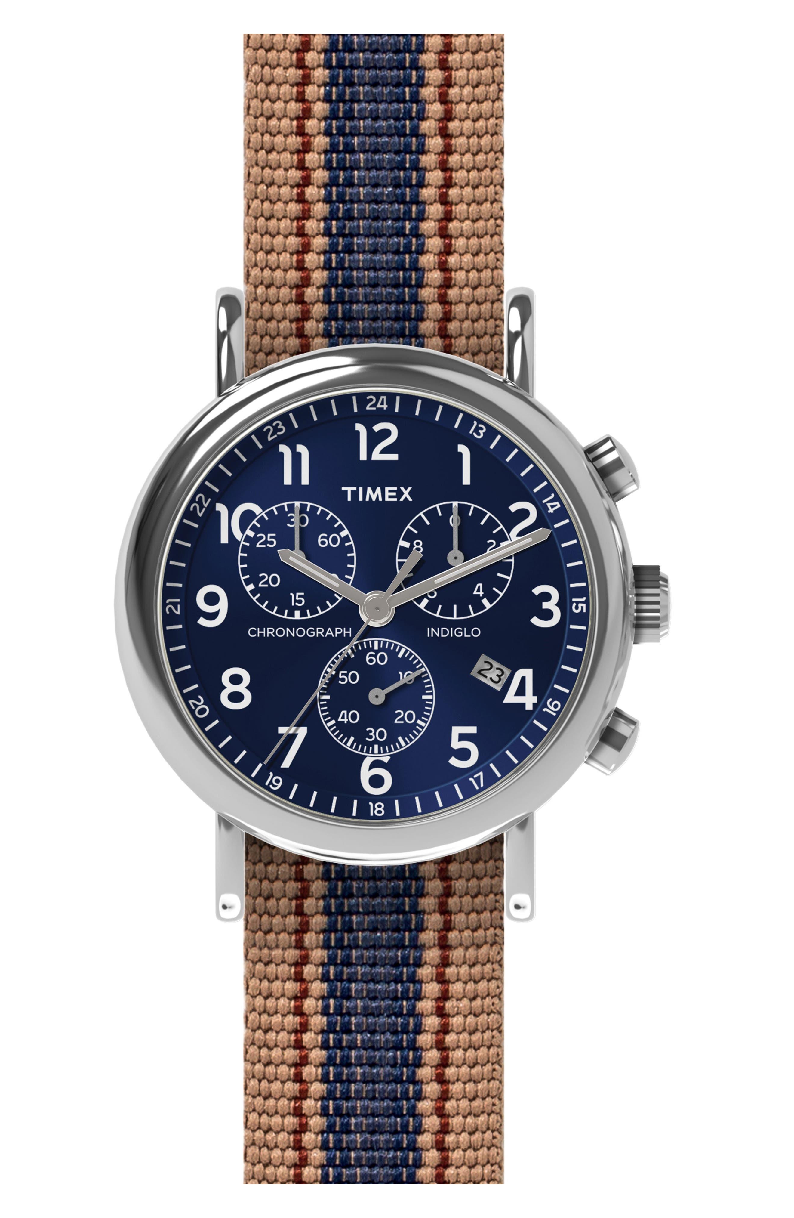 Chronograph Stripe Fabric Strap Watch, 40mm,                         Main,                         color, 200