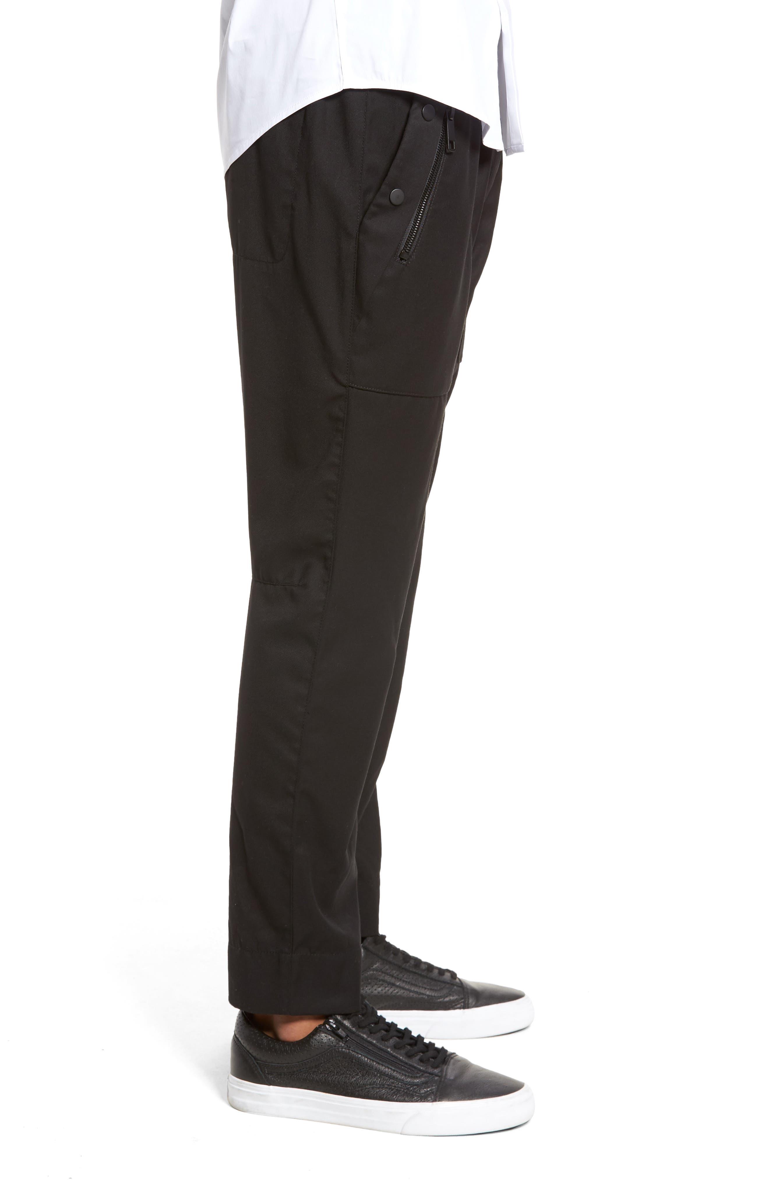 Drawstring Zip Pocket Pants,                             Alternate thumbnail 3, color,                             001