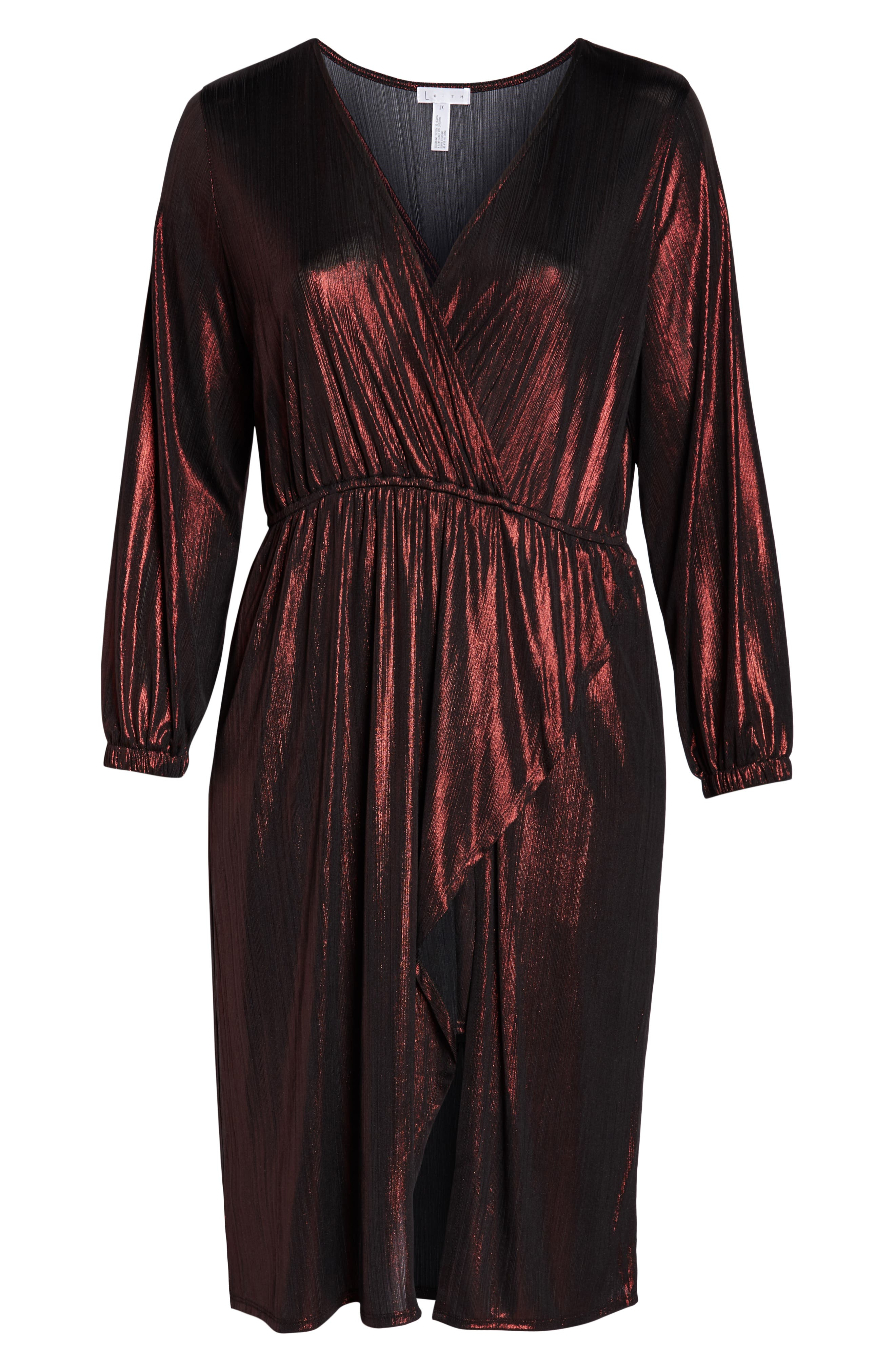 Long Sleeve Deep V-Neck Midi Dress,                             Alternate thumbnail 7, color,                             ROSE GOLD