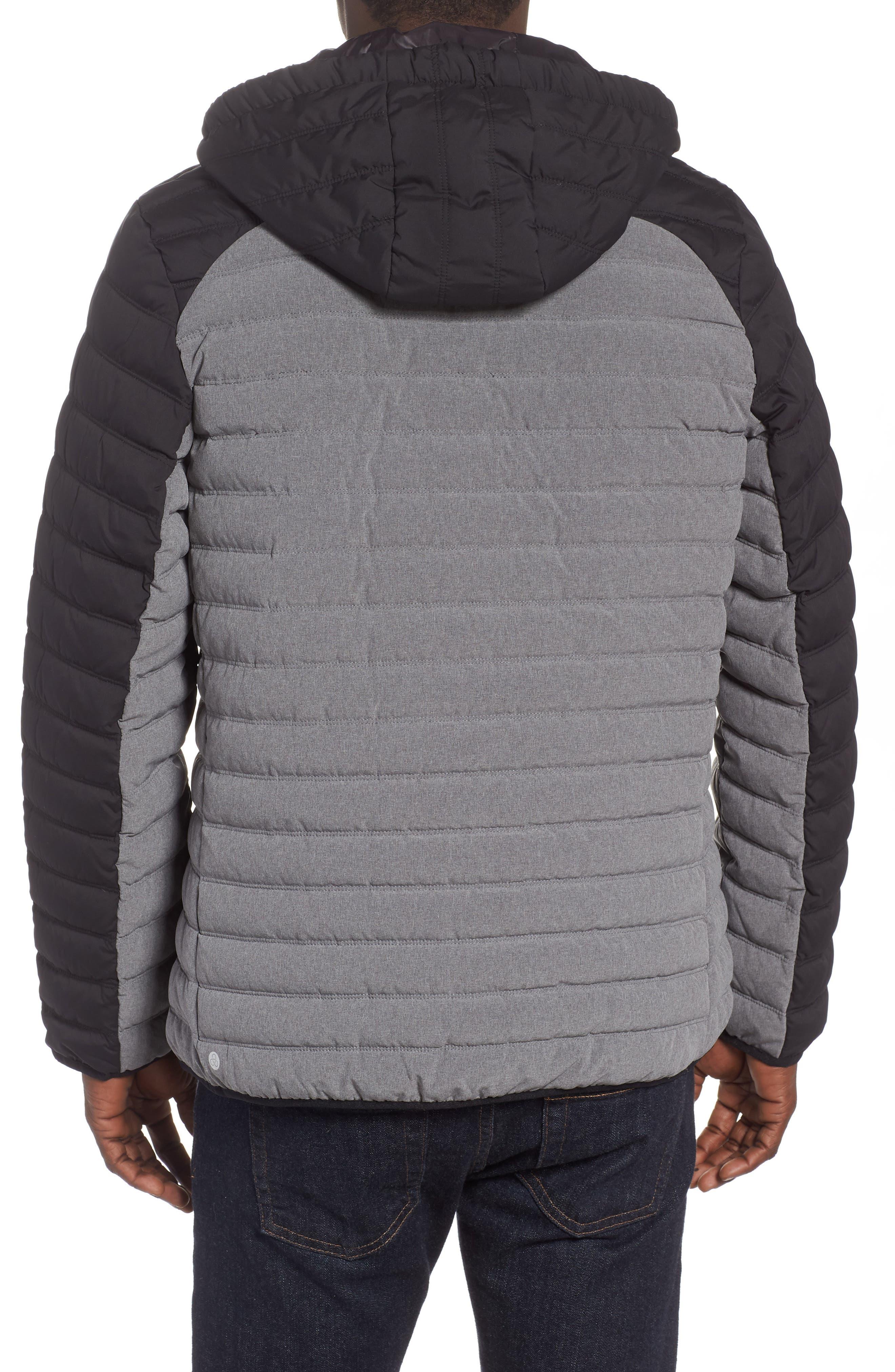 Hooded Water Resistant Down Jacket,                             Alternate thumbnail 2, color,                             BLACK GREY OBSIDIAN
