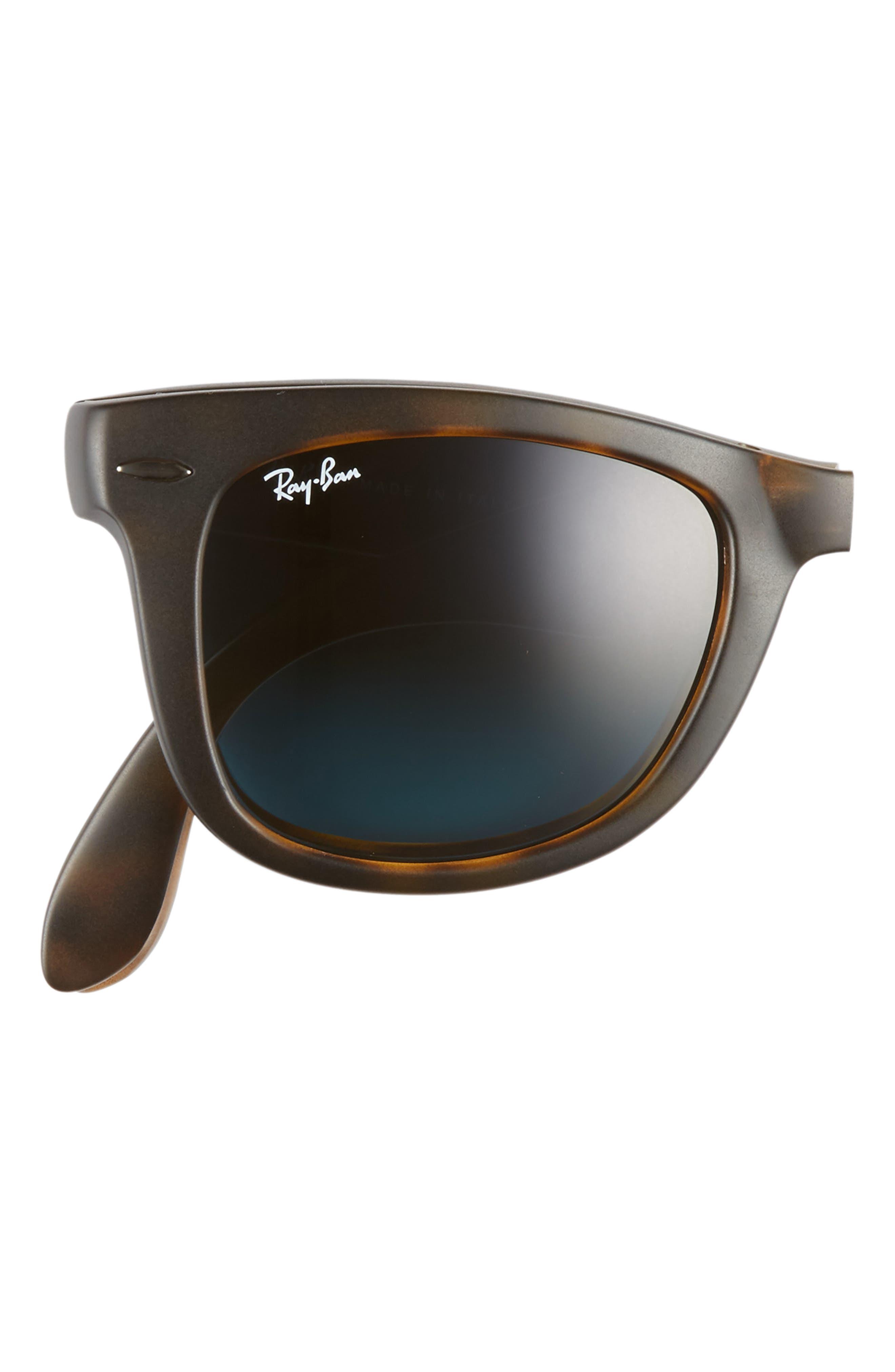 'Folding Wayfarer' 50mm Sunglasses,                             Alternate thumbnail 3, color,                             MATTE HAVANA