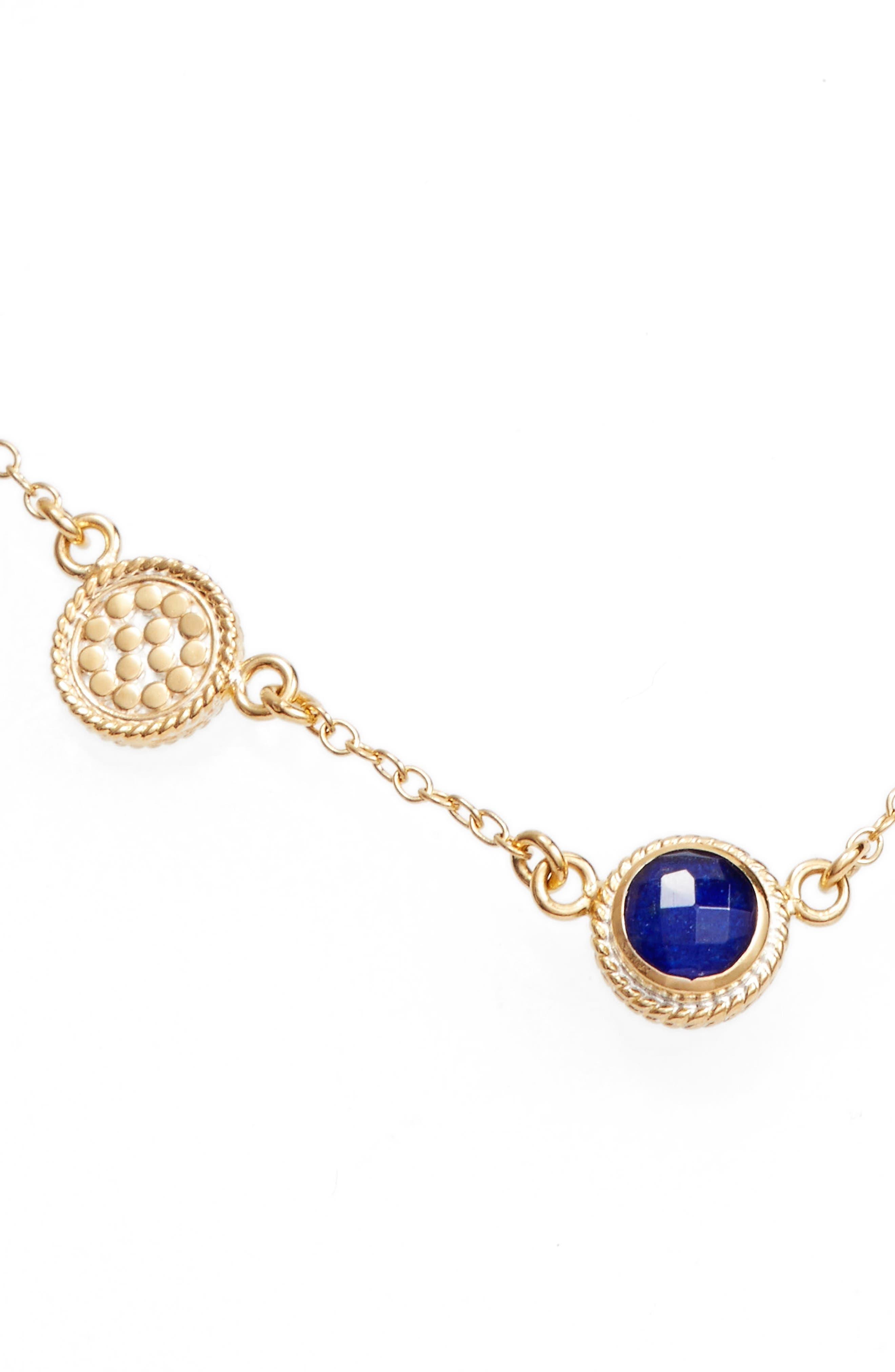 Semiprecious Stone Station Necklace,                             Main thumbnail 1, color,                             BLUE LAPIS