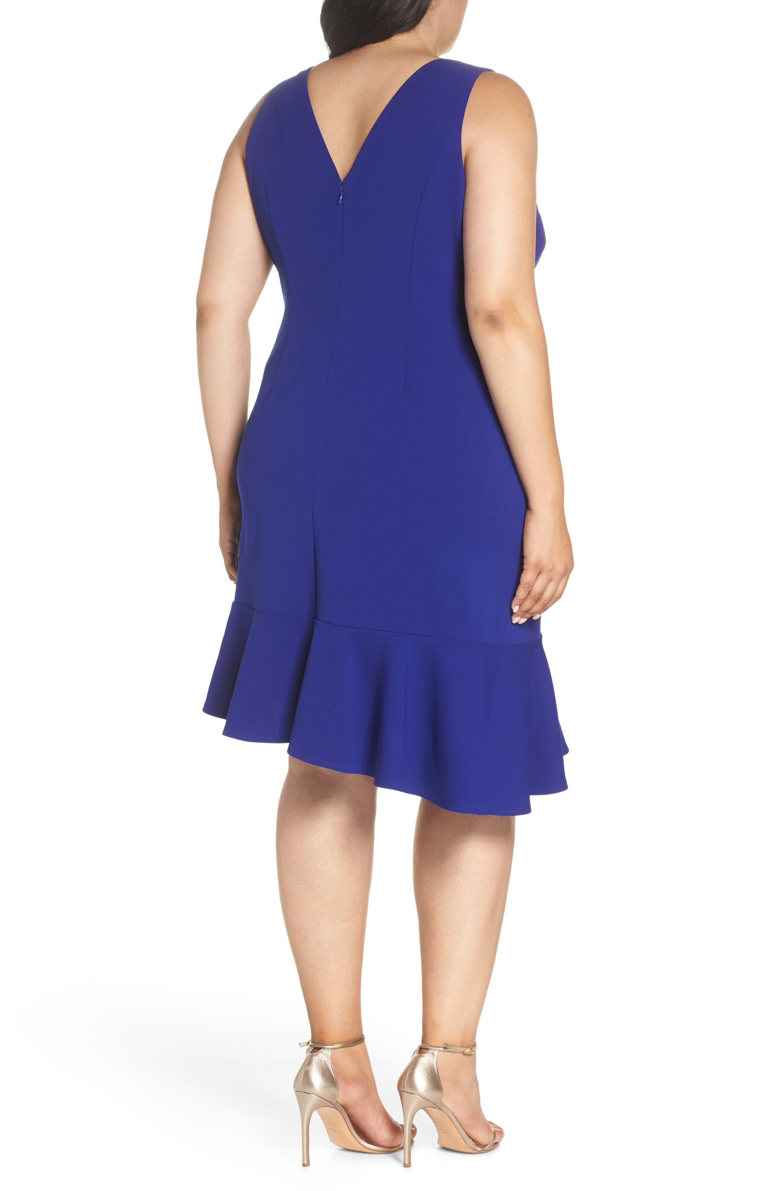 Ruffle Hem Scuba Crepe Body-Con Dress,                             Alternate thumbnail 2, color,                             430