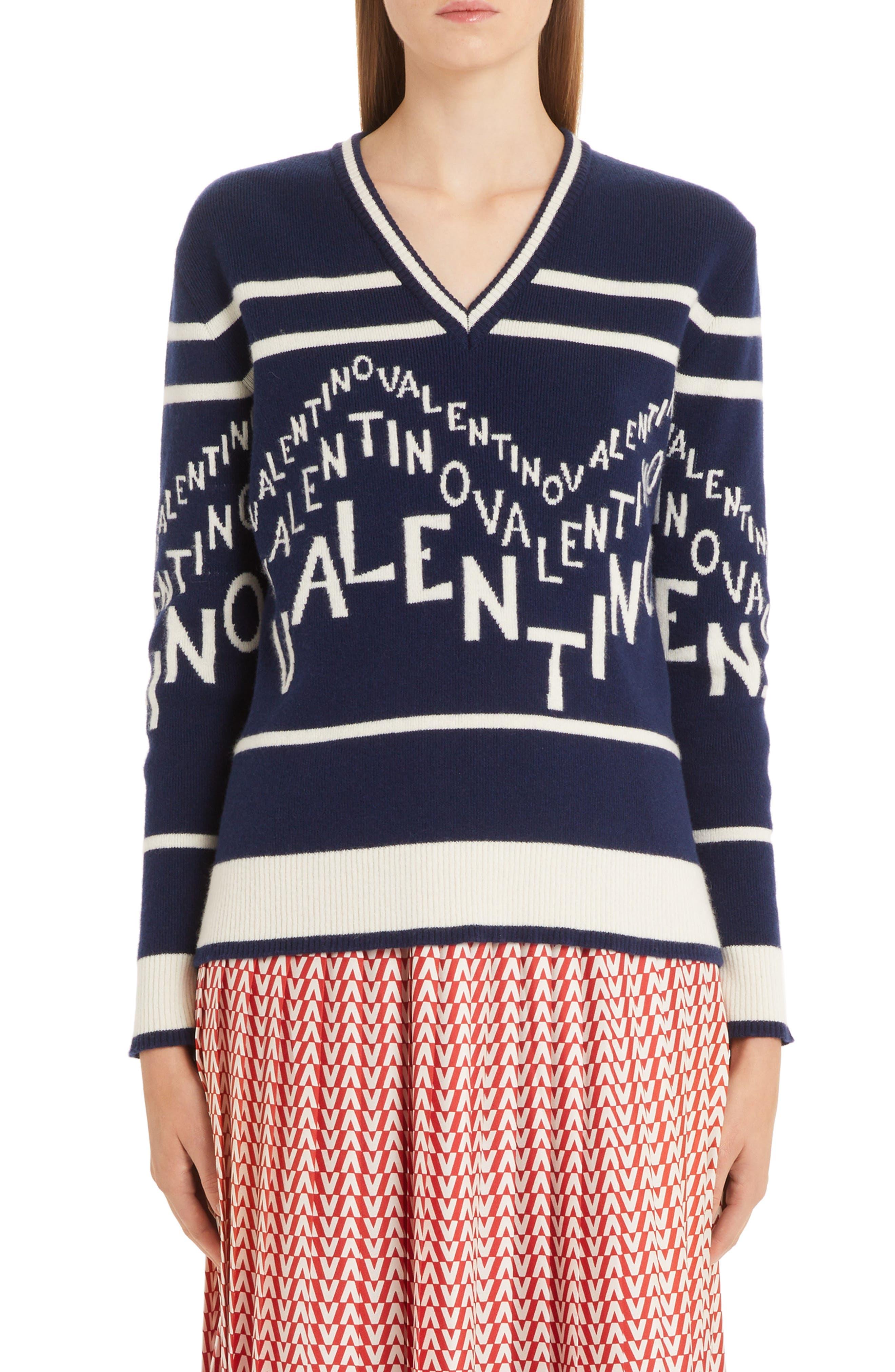 VALENTINO,                             Chevron Logo Wool & Cashmere Sweater,                             Main thumbnail 1, color,                             ALMOND/ PURE BLUE