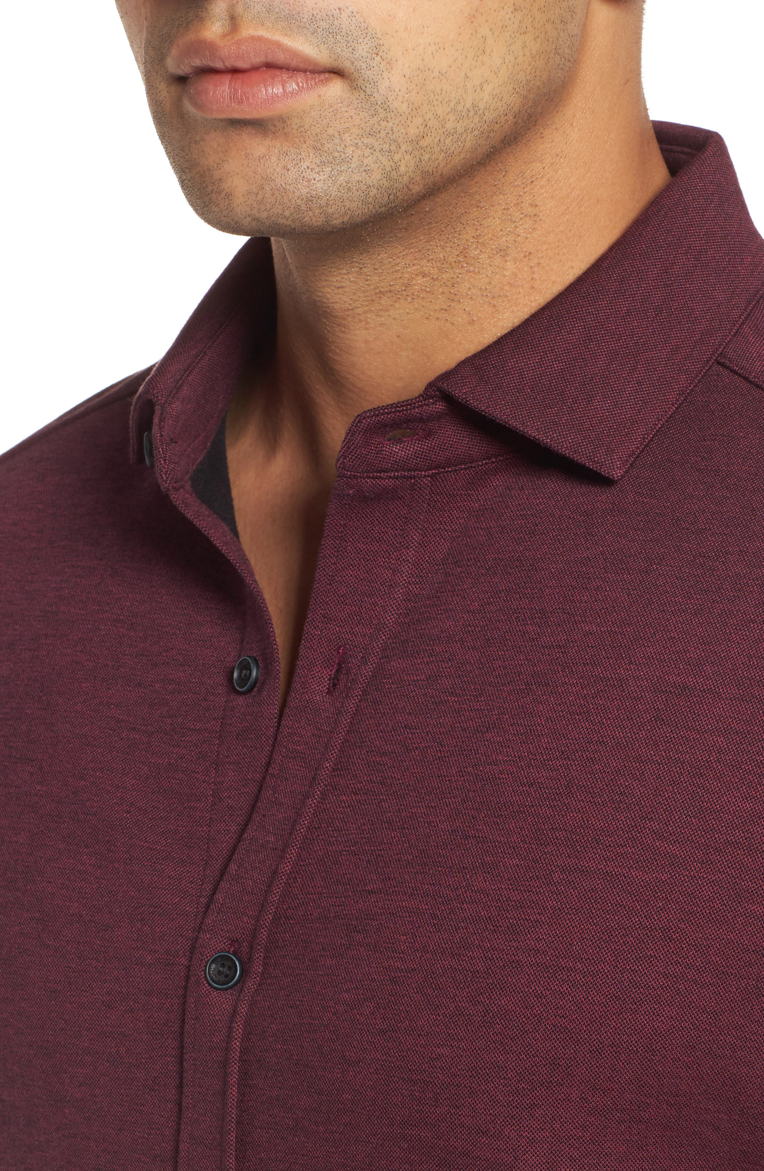 Classic Fit Heathered Knit Sport Shirt,                             Alternate thumbnail 12, color,