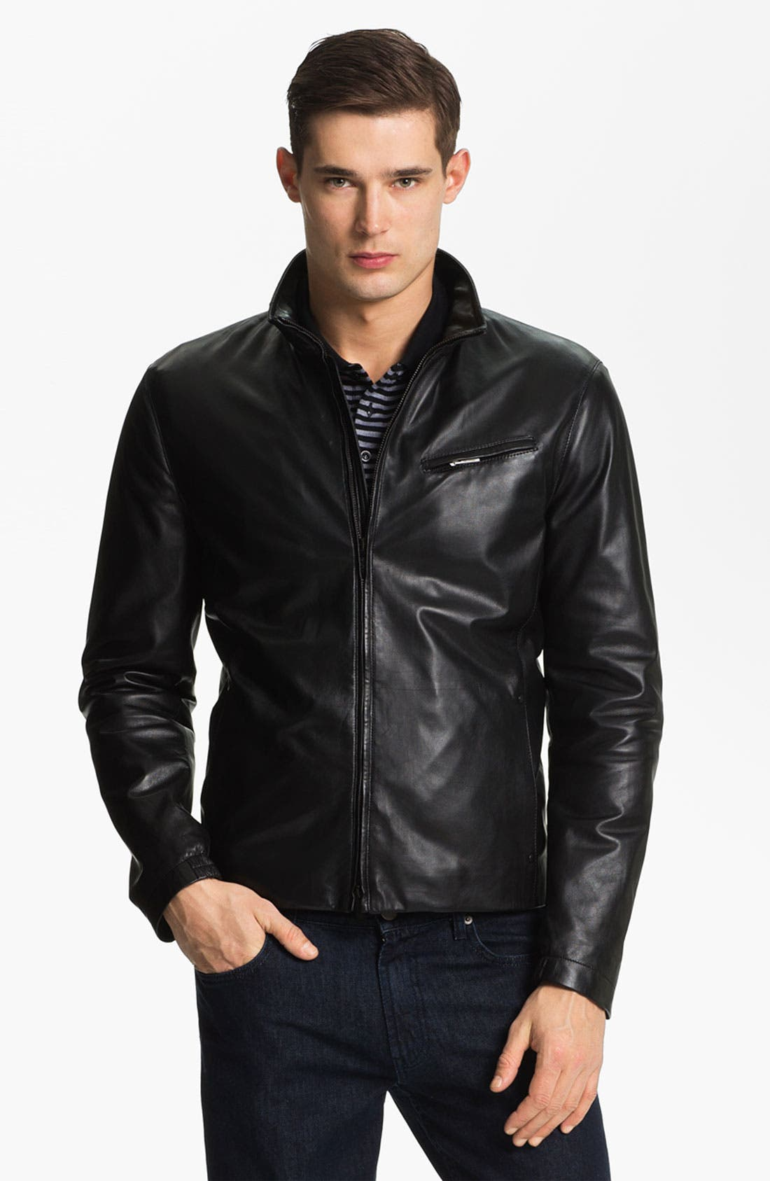 EMPORIO ARMANI,                             Armani Collezioni Blouson Leather Jacket,                             Main thumbnail 1, color,                             001