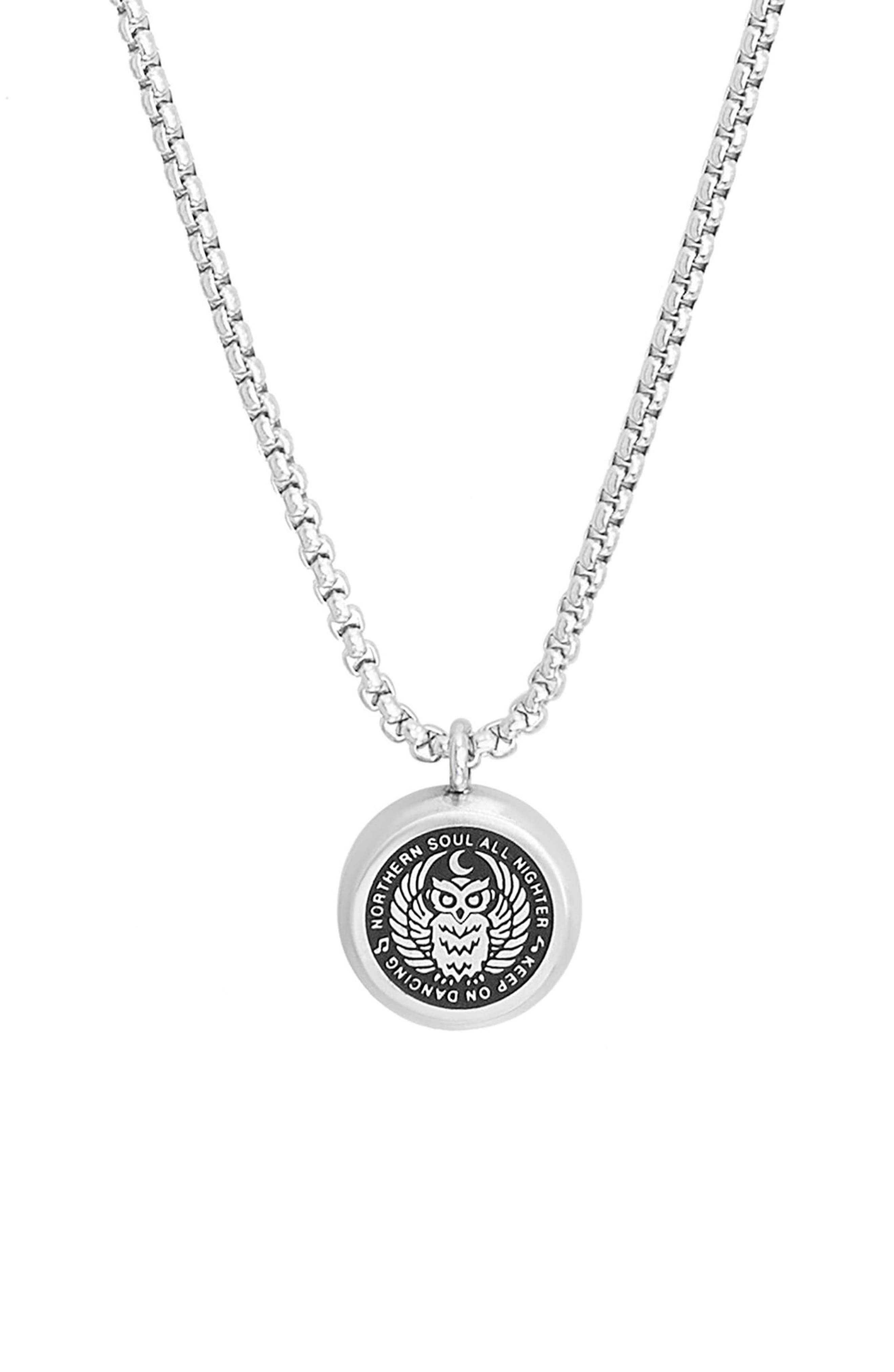 Owl Pendant Necklace,                         Main,                         color, SILVER