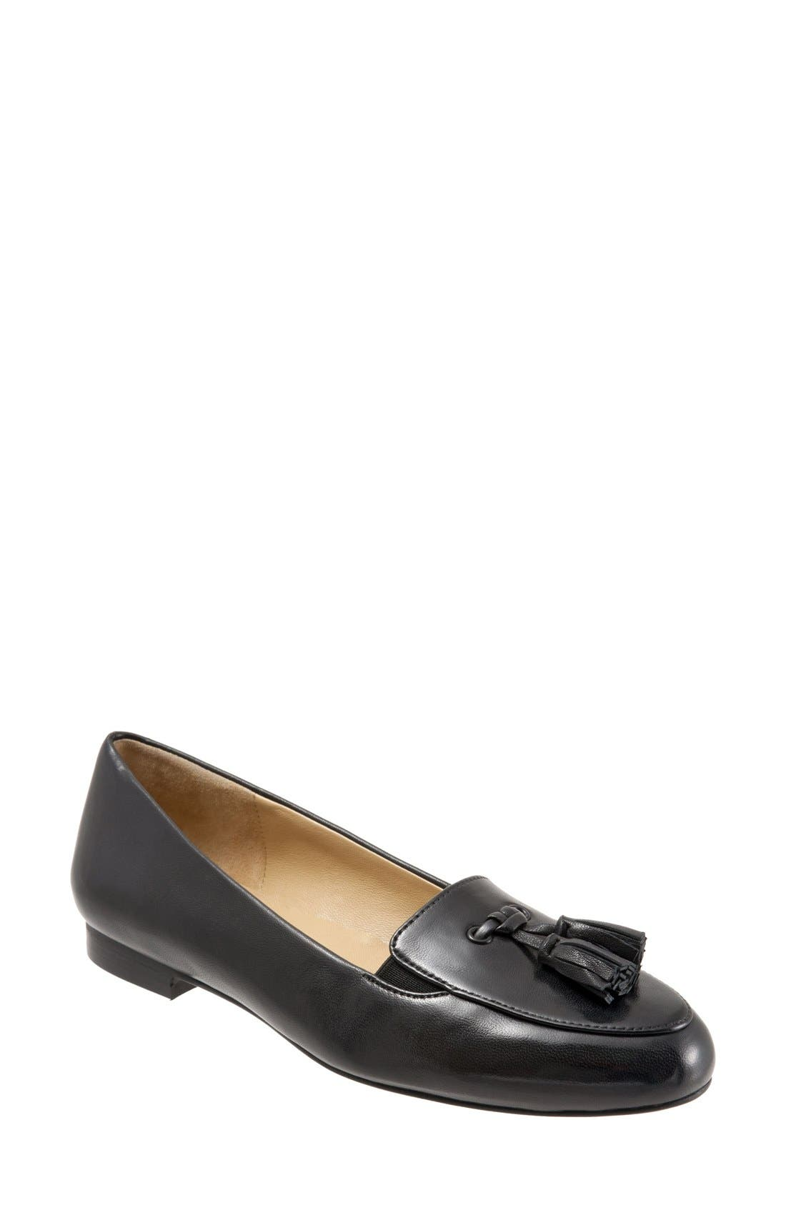 'Caroline' Tassel Loafer,                             Main thumbnail 1, color,                             BLACK LEATHER
