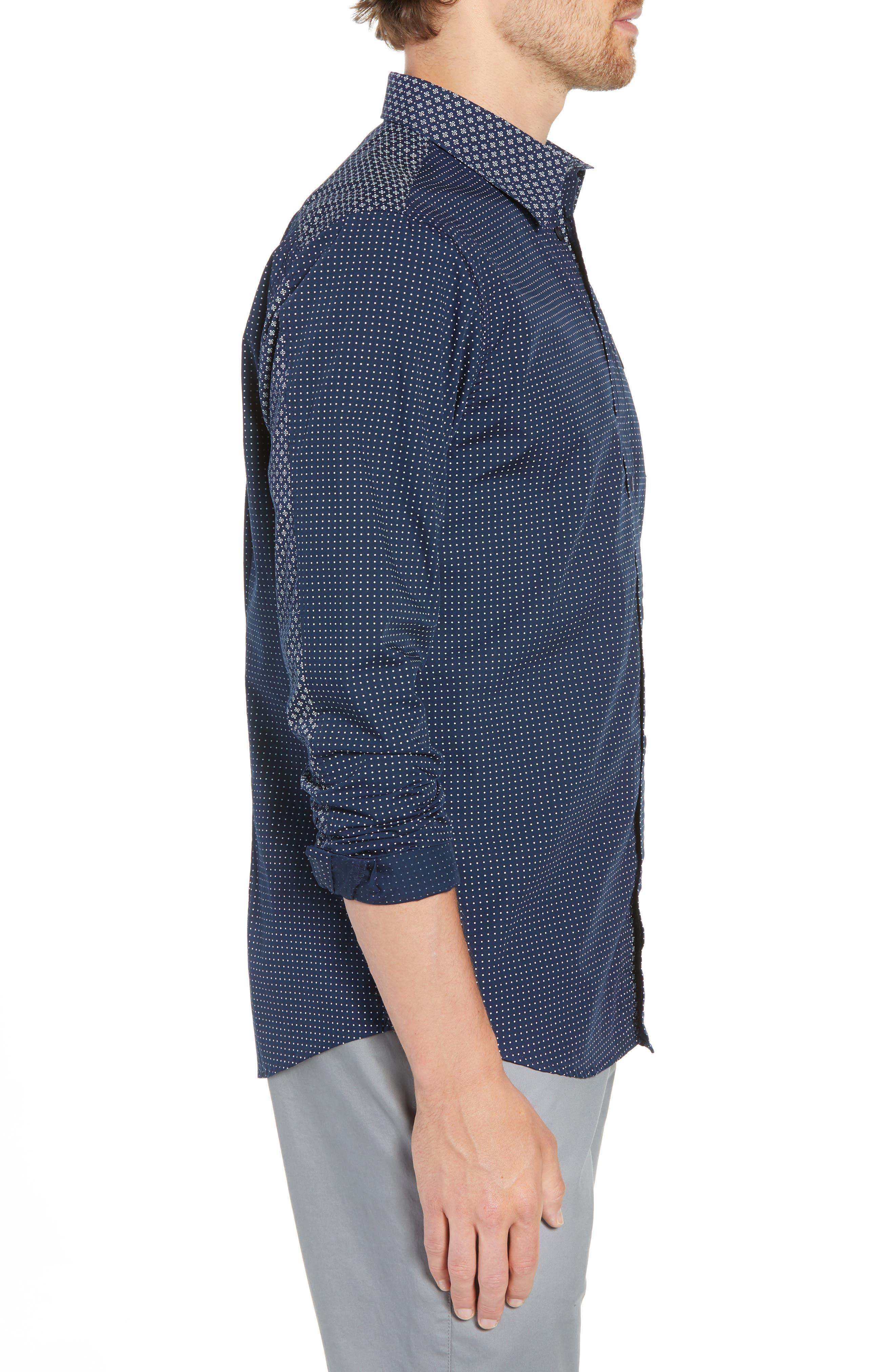 Trim Fit Block Print Sport Shirt,                             Alternate thumbnail 4, color,                             400
