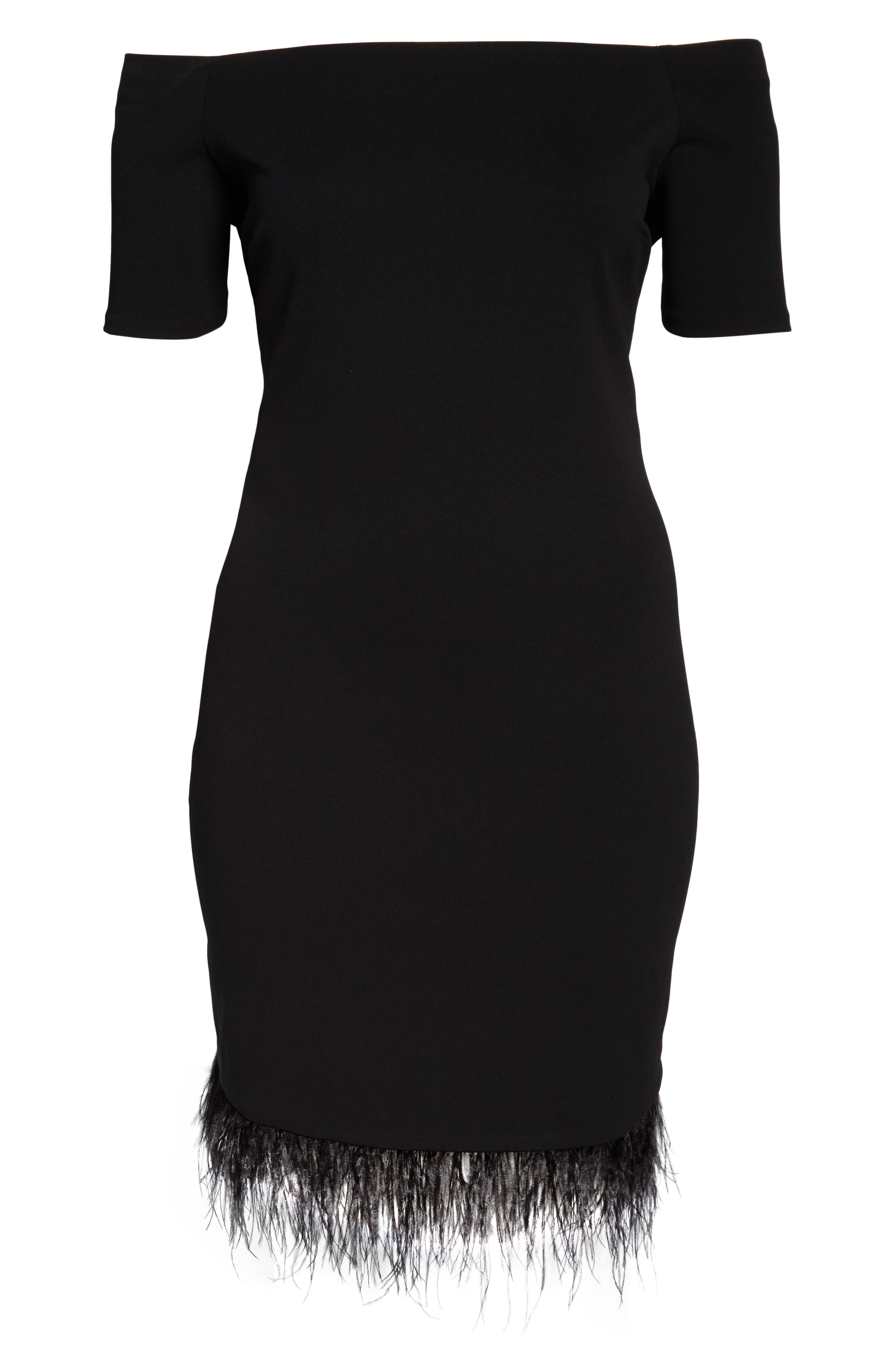 Feather Trim Sheath Dress,                             Alternate thumbnail 7, color,                             001