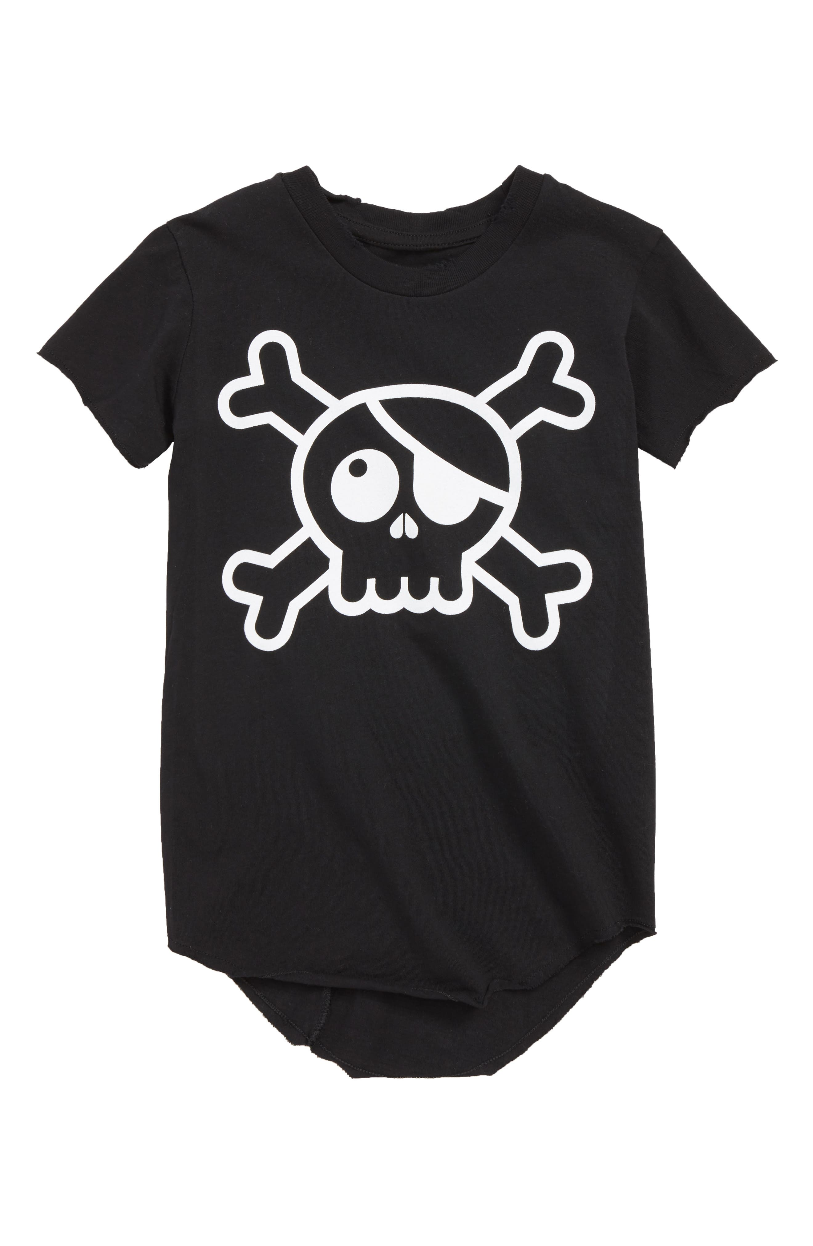 Raw Skull Patch T-Shirt,                             Main thumbnail 1, color,                             BLACK