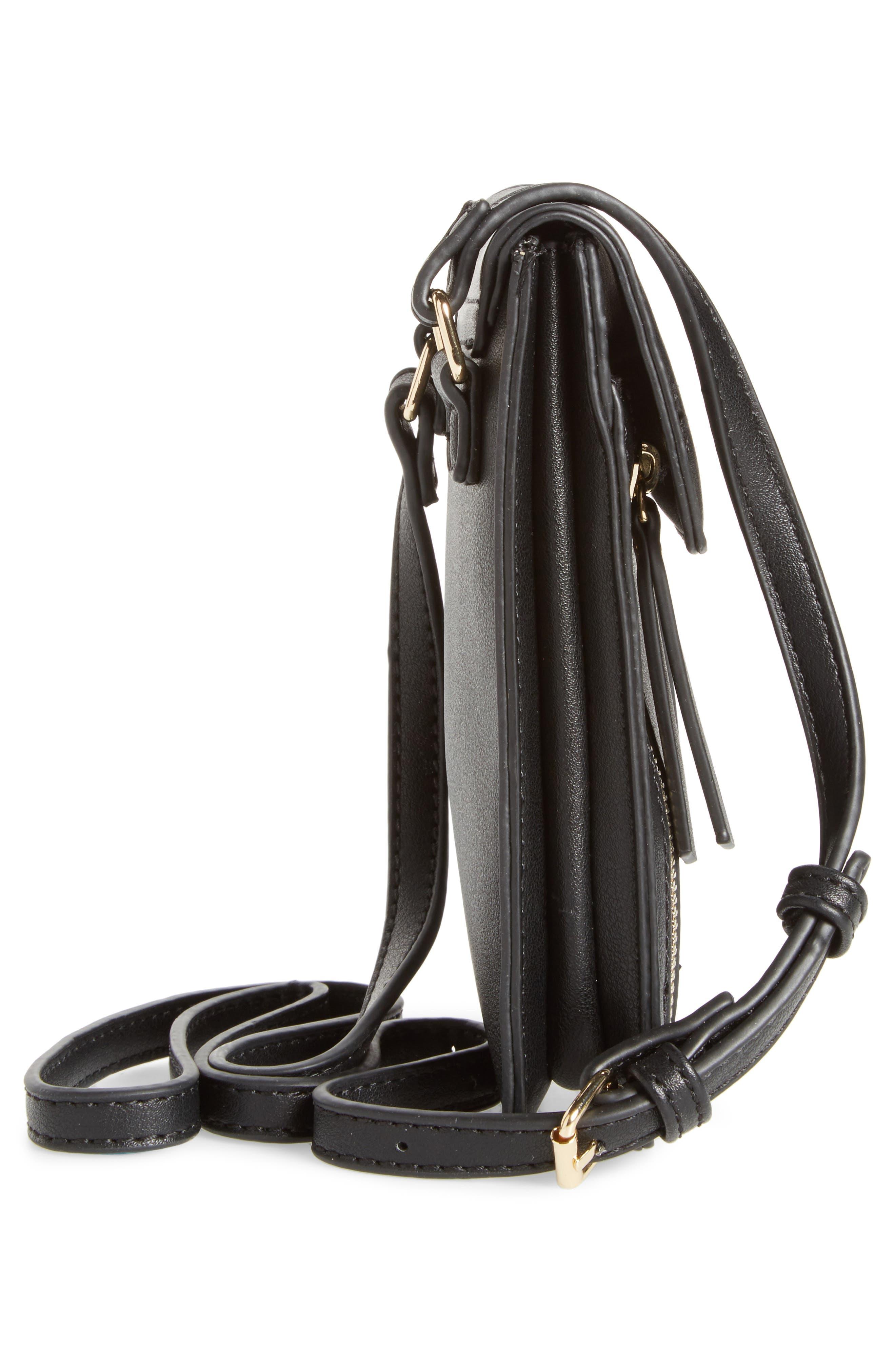 Zipper Phone Crossbody Bag,                             Alternate thumbnail 5, color,                             001