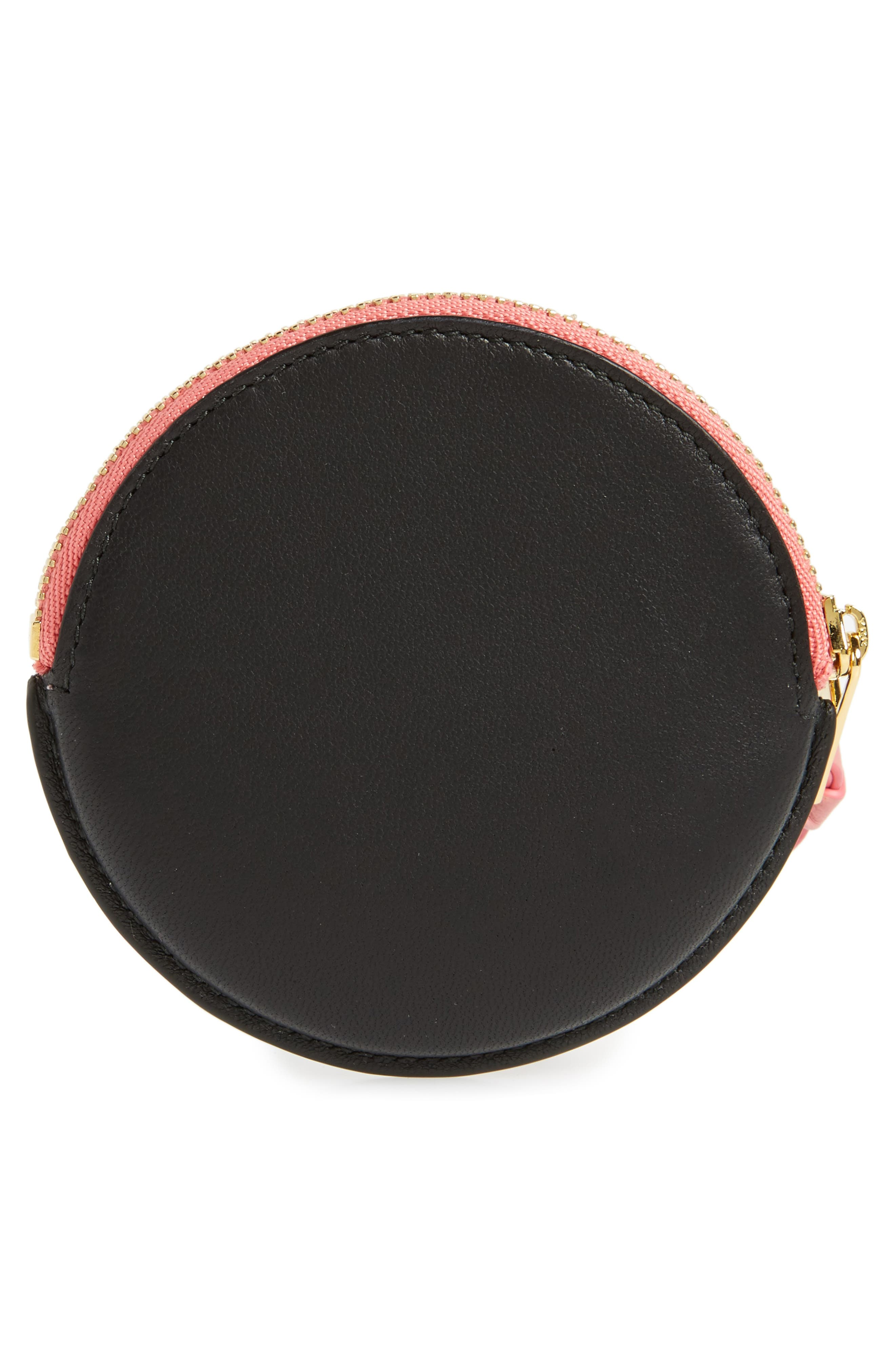 Cookie Round Leather Zip Pouch,                             Alternate thumbnail 2, color,