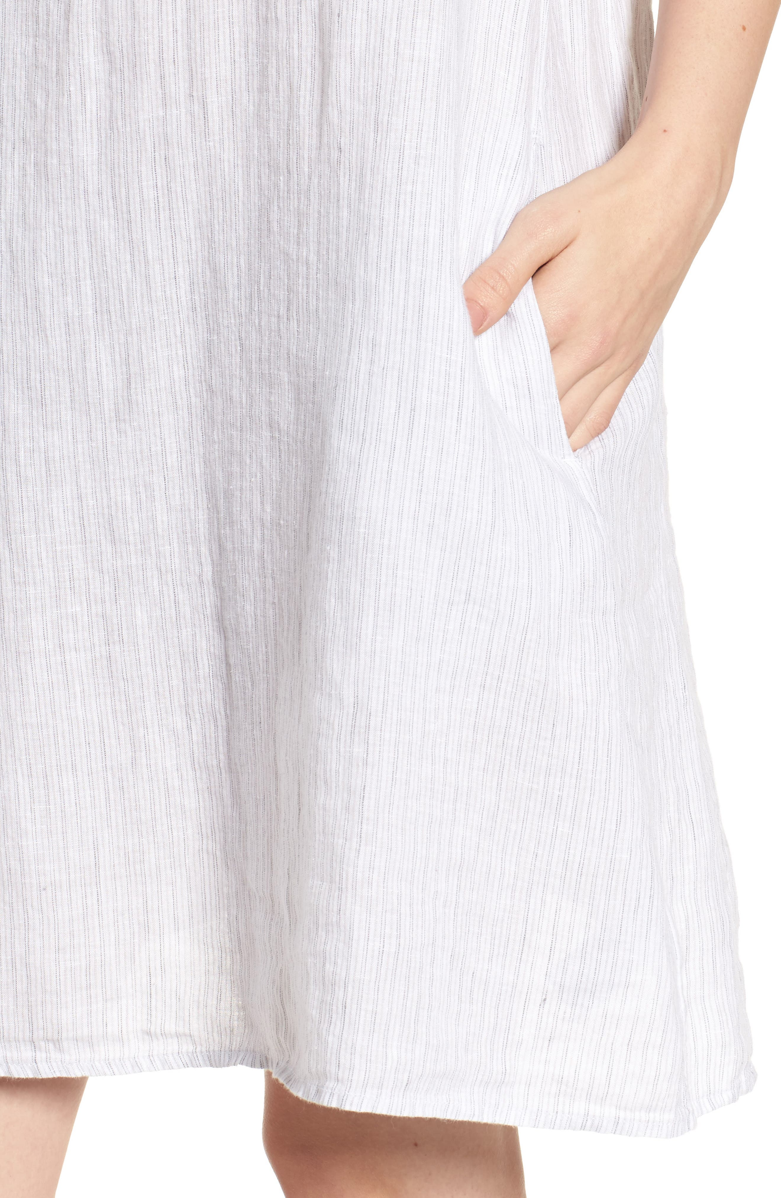 Stripe Linen Dress,                             Alternate thumbnail 4, color,                             053