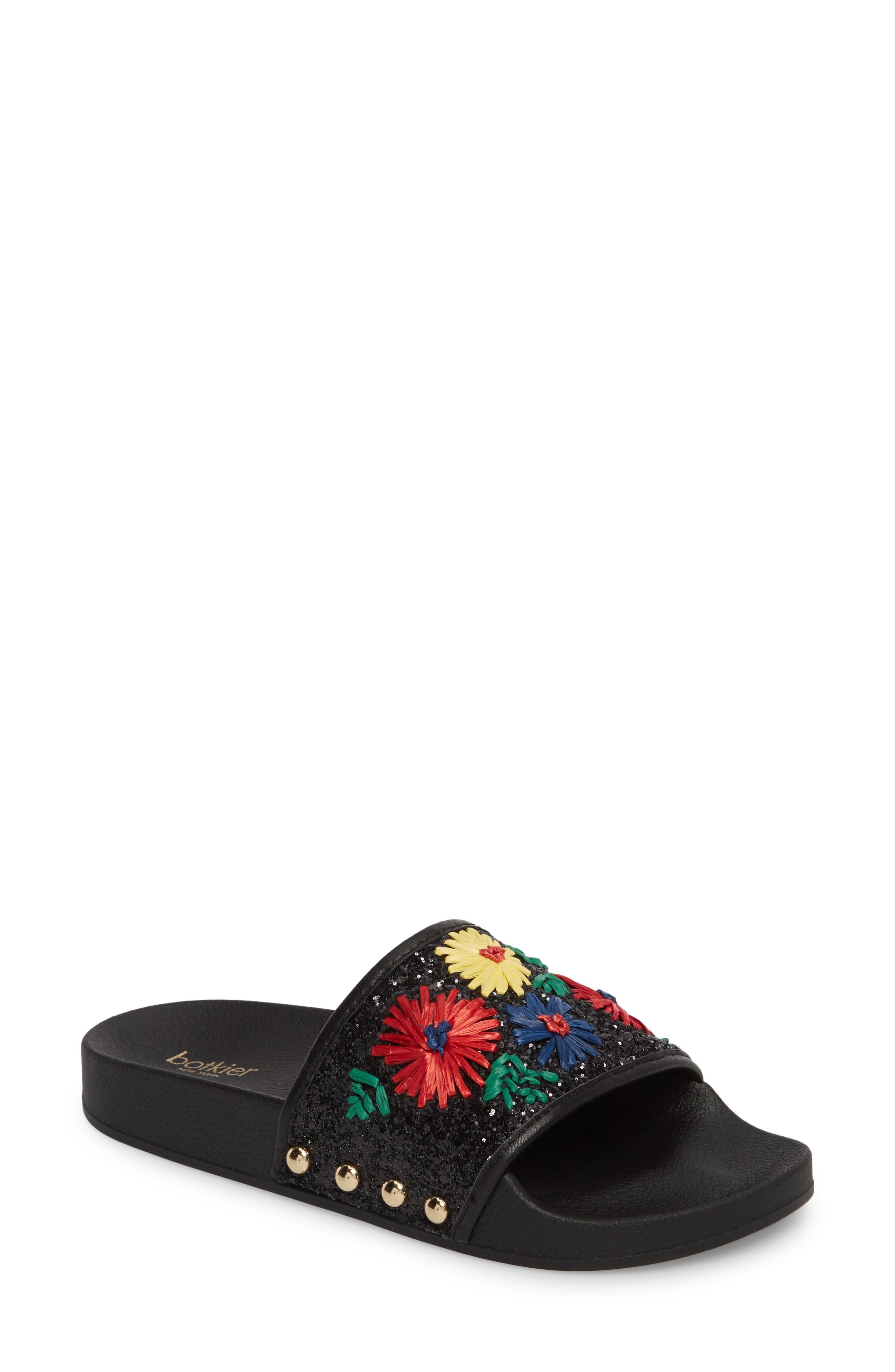 Daisy Slide Sandal,                             Main thumbnail 1, color,                             BRIGHT FLORAL PRINT