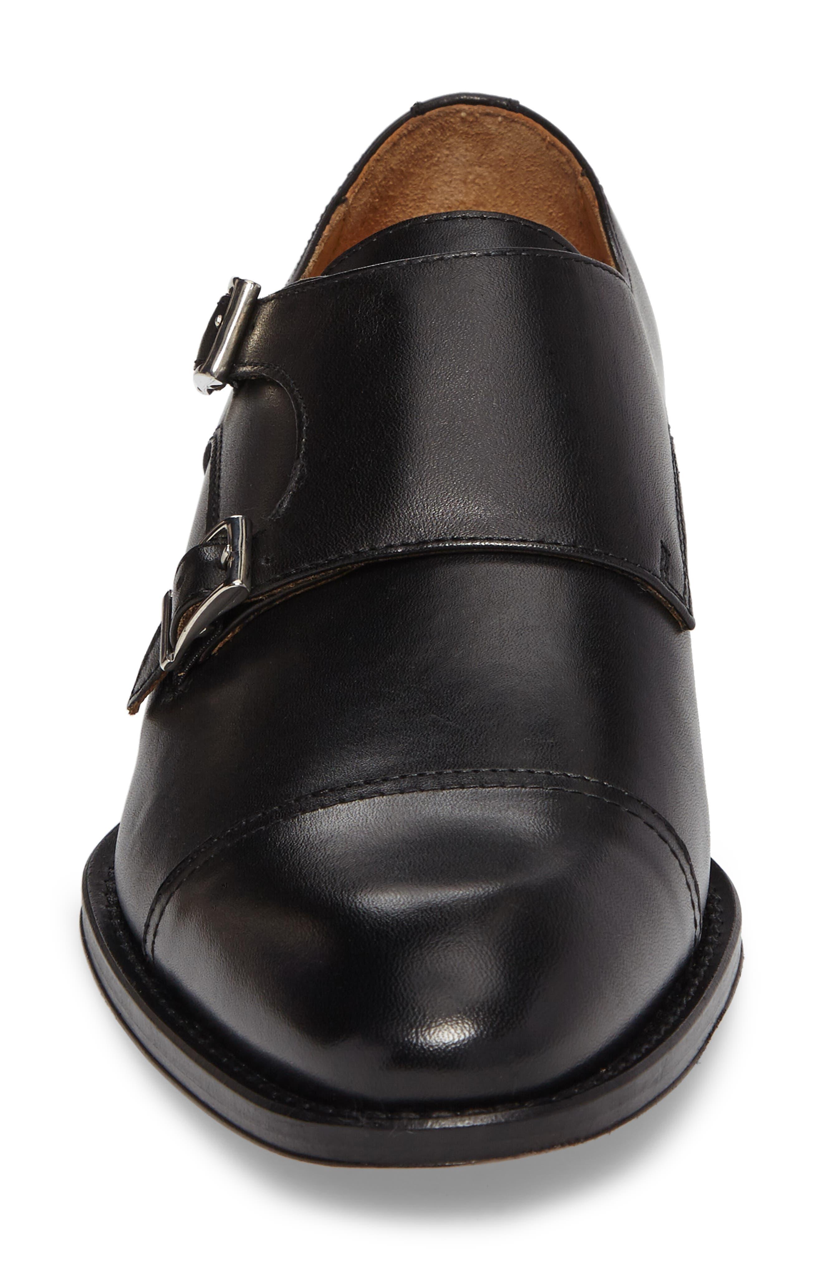 Stratton Double Monk Strap Shoe,                             Alternate thumbnail 4, color,                             001