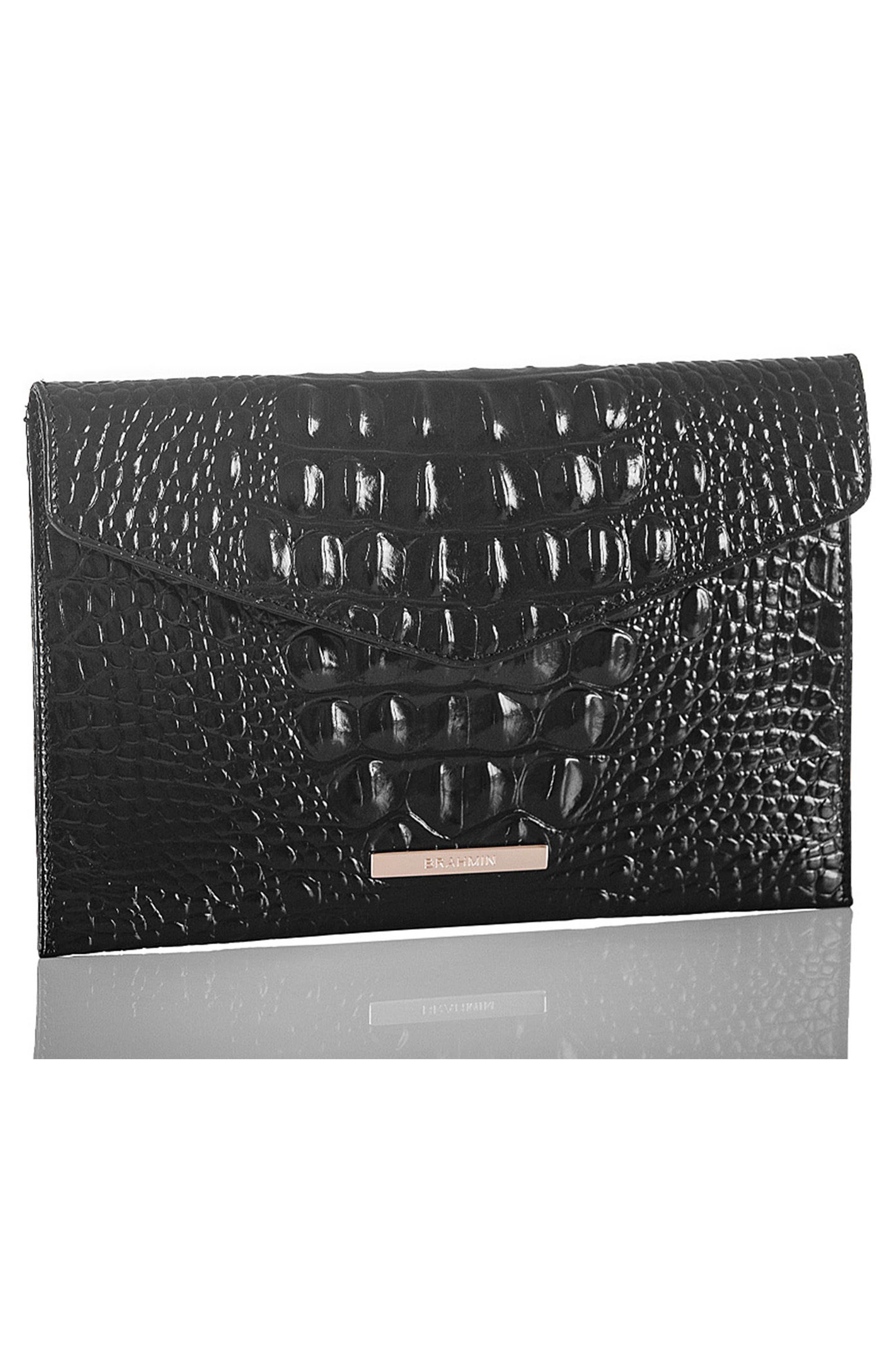 Melbourne Croc Embossed Leather Envelope Clutch,                             Alternate thumbnail 7, color,                             BLACK