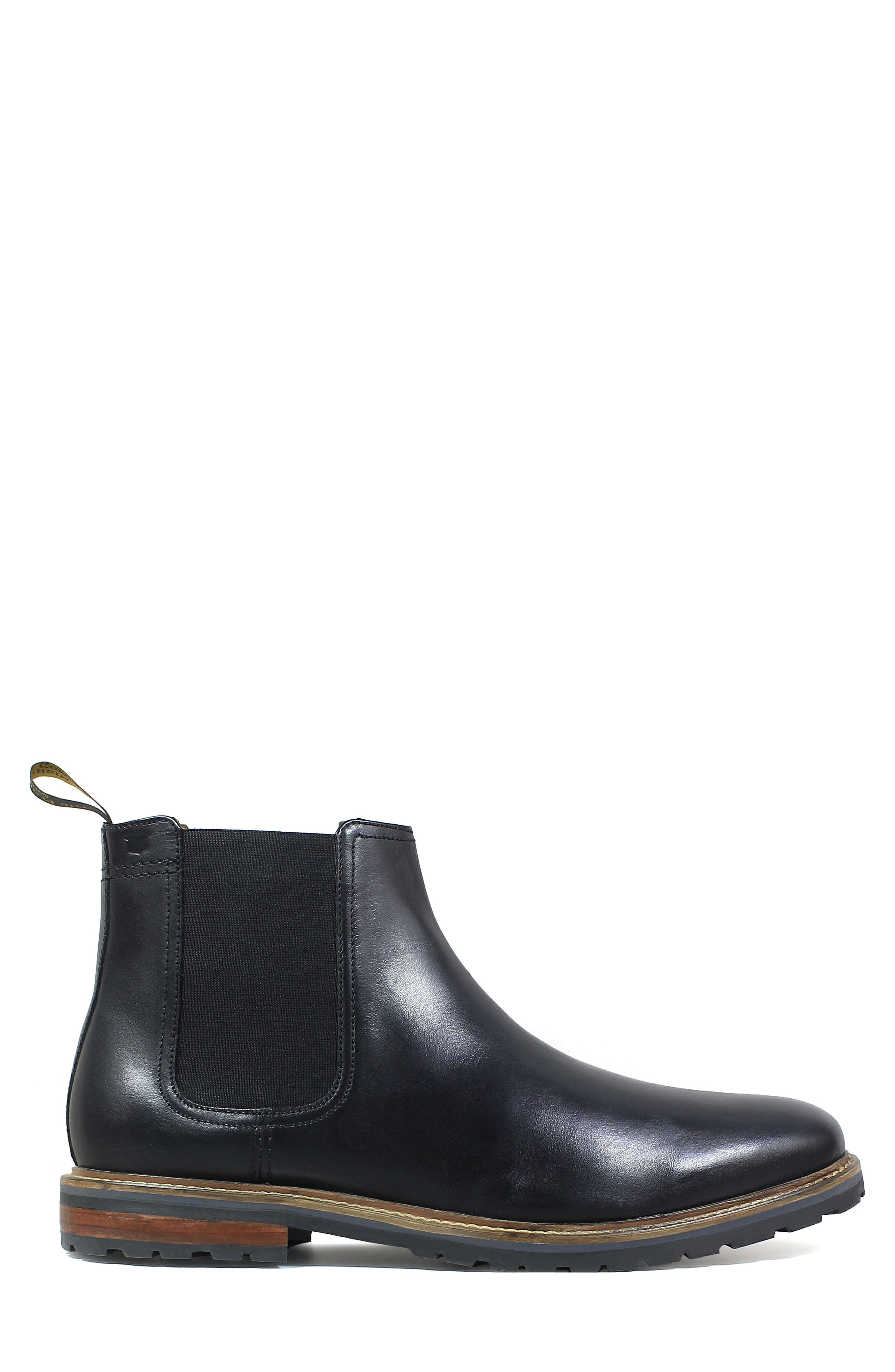 Estabrook Mid Chelsea Boot,                             Alternate thumbnail 3, color,                             BLACK LEATHER