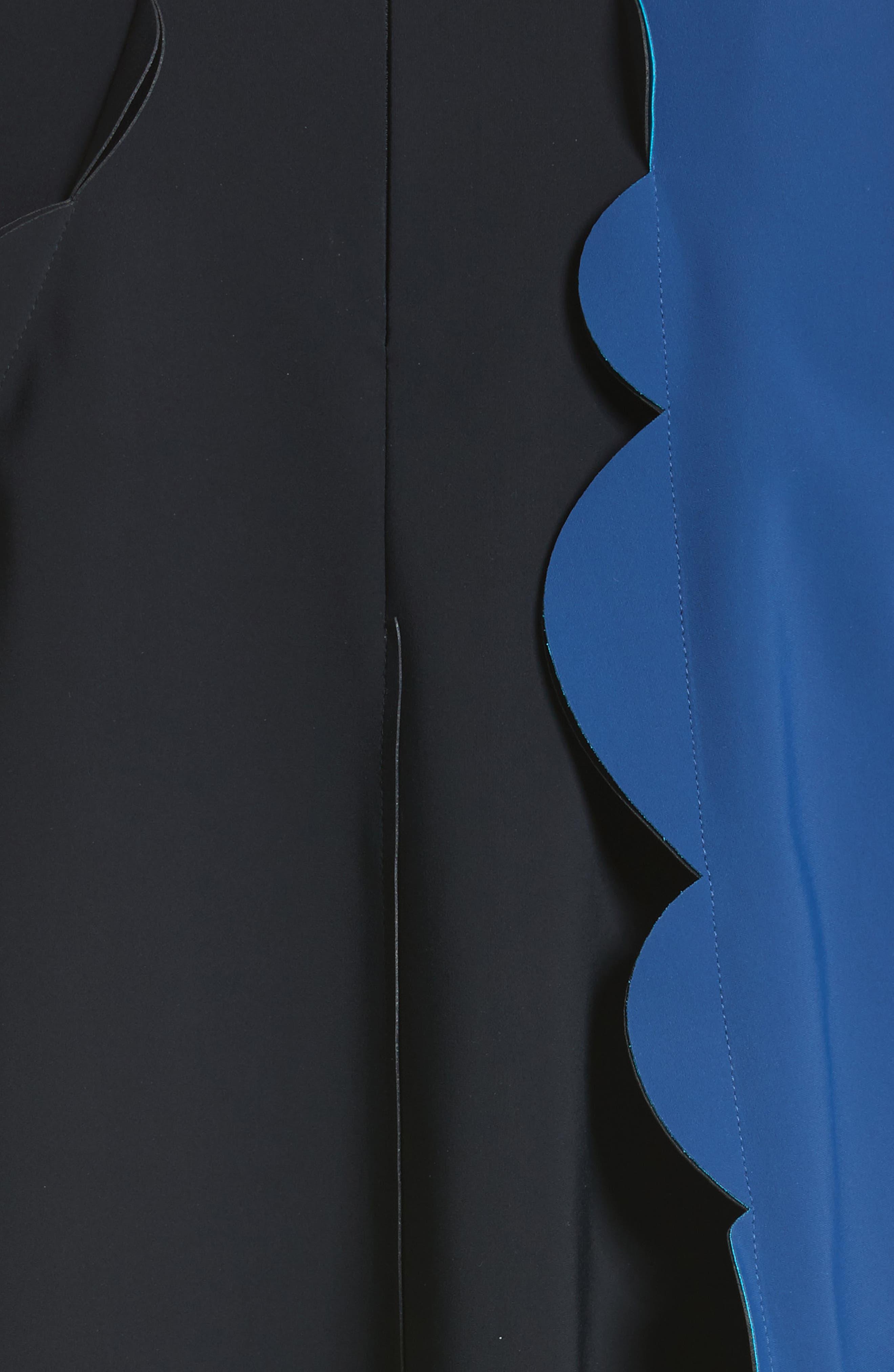 Scalloped Asymmetrical Minidress,                             Alternate thumbnail 5, color,                             001