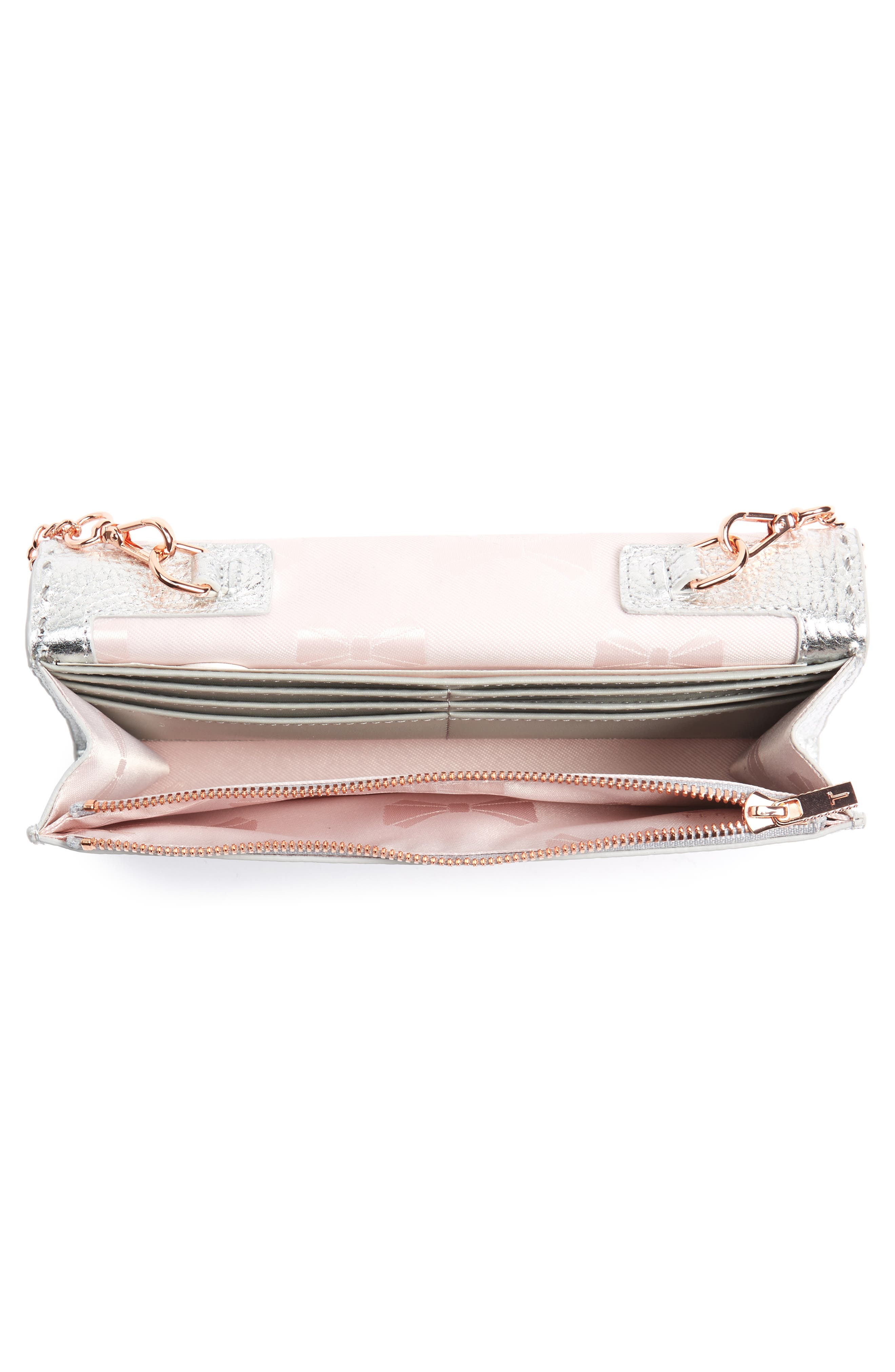 Janet Metallic Leather Crossbody Matinée Wallet on a Chain,                             Alternate thumbnail 4, color,                             040