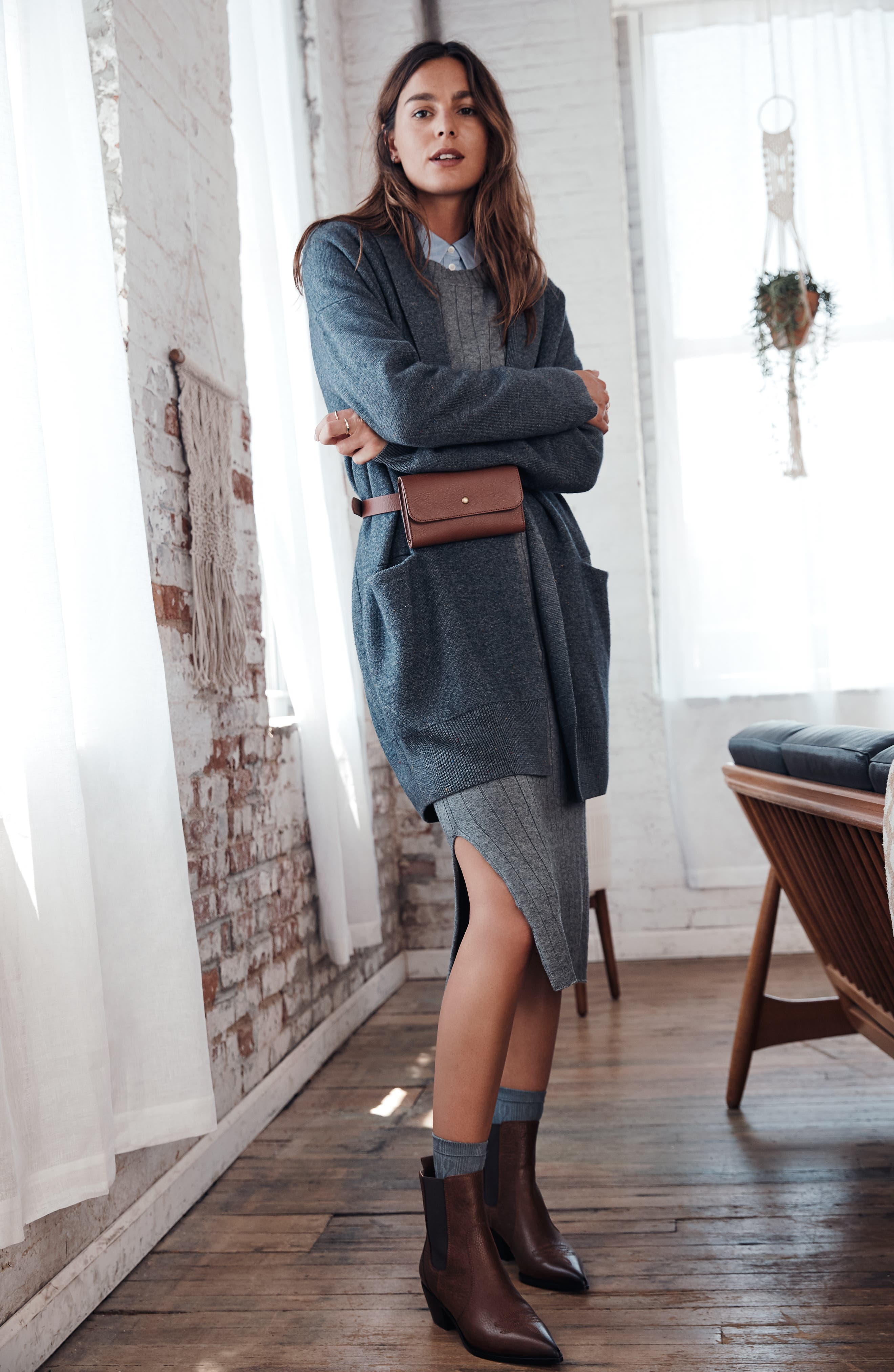 Ribbed Sweater Dress,                             Alternate thumbnail 7, color,                             GREY DARK HEATHER
