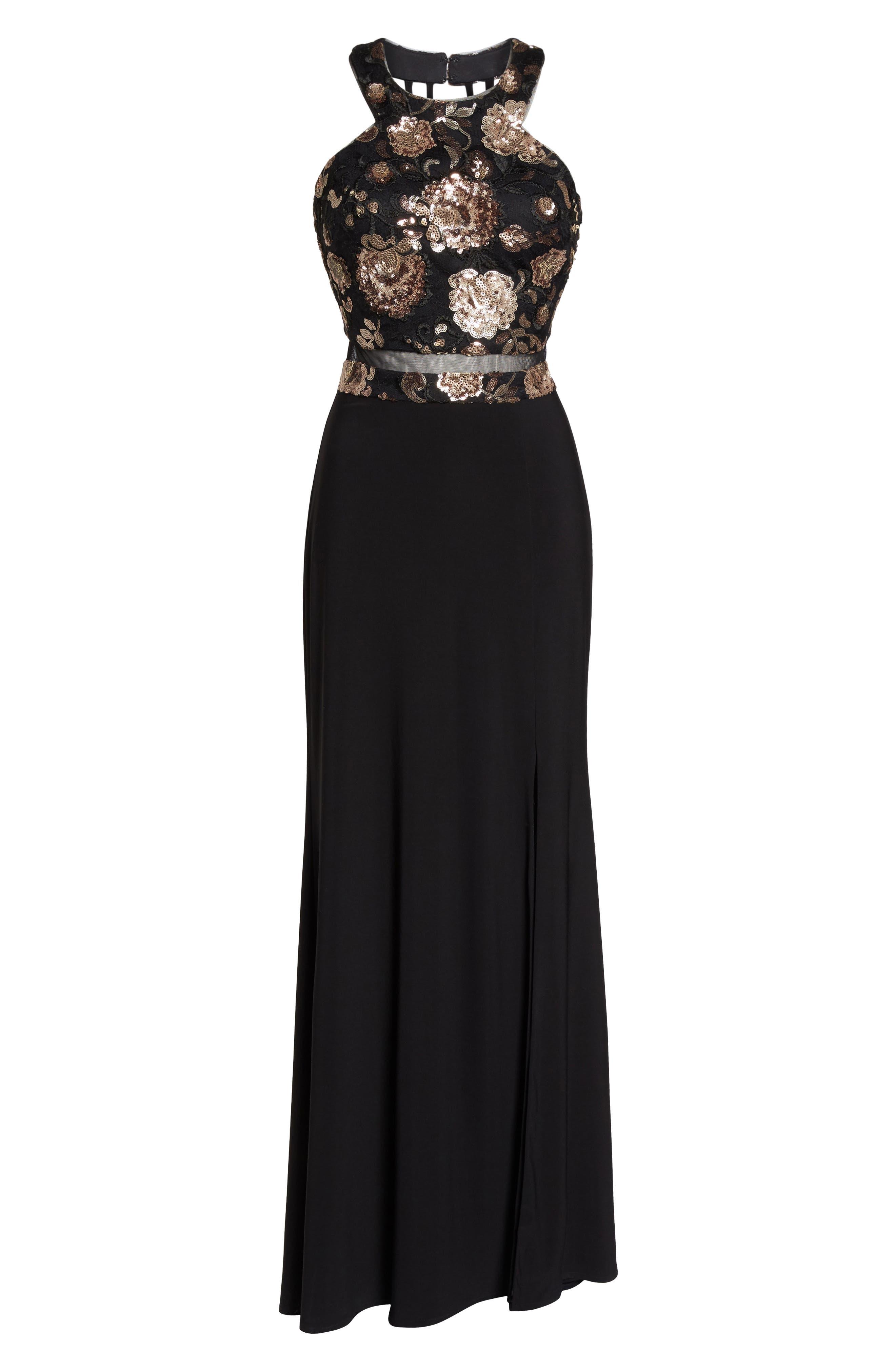 MORGAN & CO.,                             Sequin Mesh Panel Gown,                             Alternate thumbnail 6, color,                             BLACK / ROSE GOLD