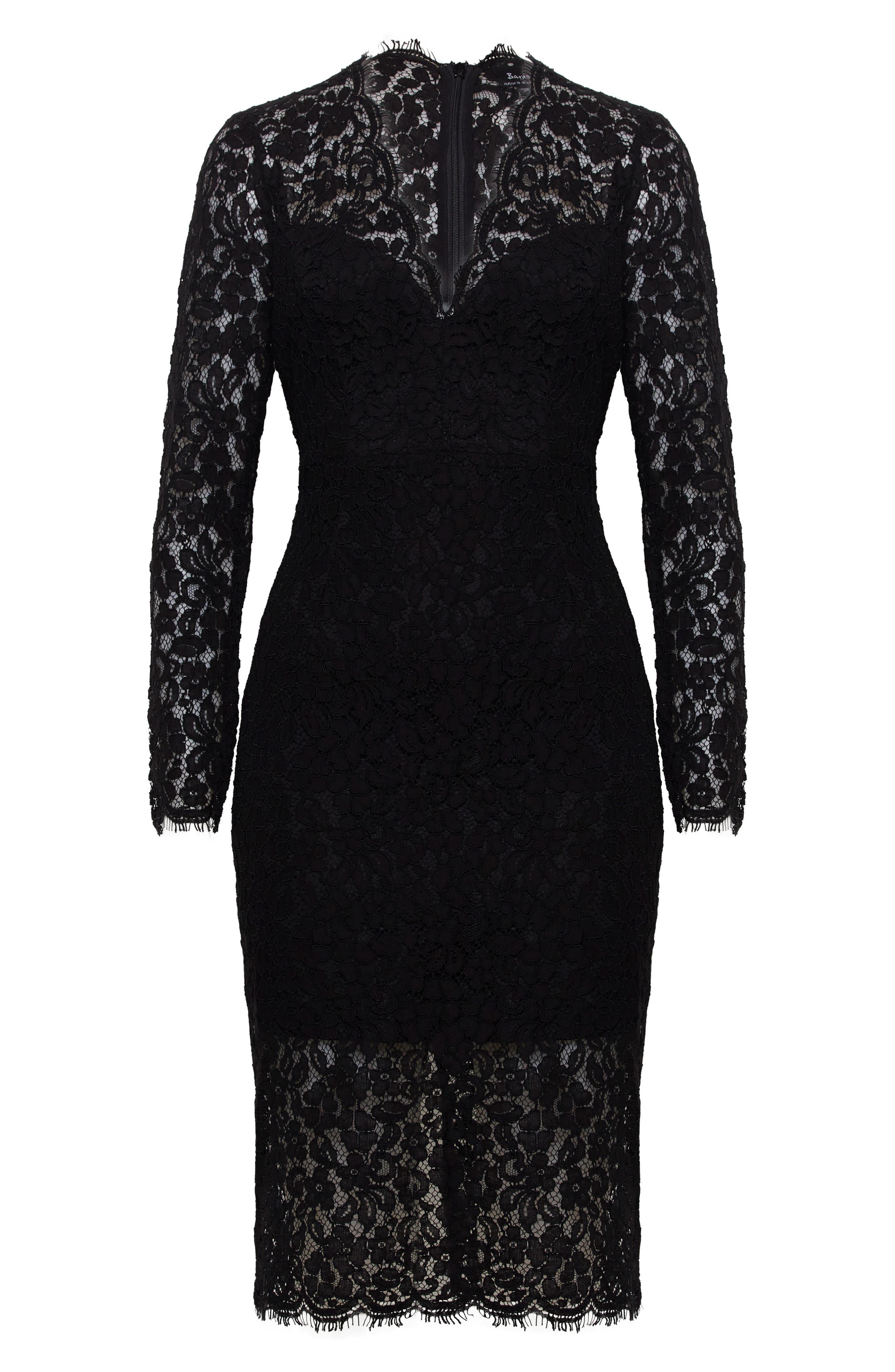 BARDOT,                             Midnights Lace Dress,                             Alternate thumbnail 6, color,                             BLACK