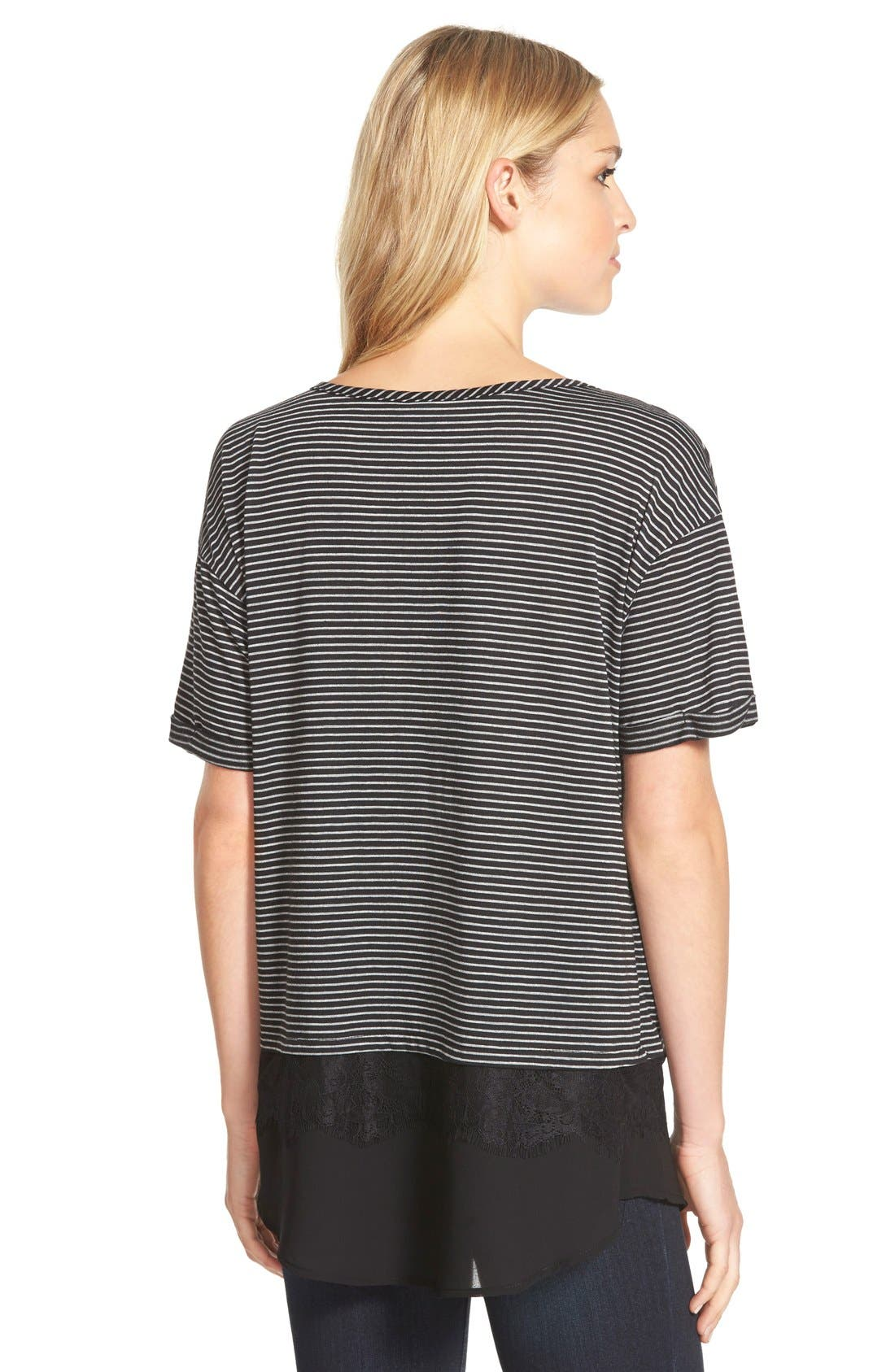 Lace Trim Layered Look Tee,                             Alternate thumbnail 2, color,                             002