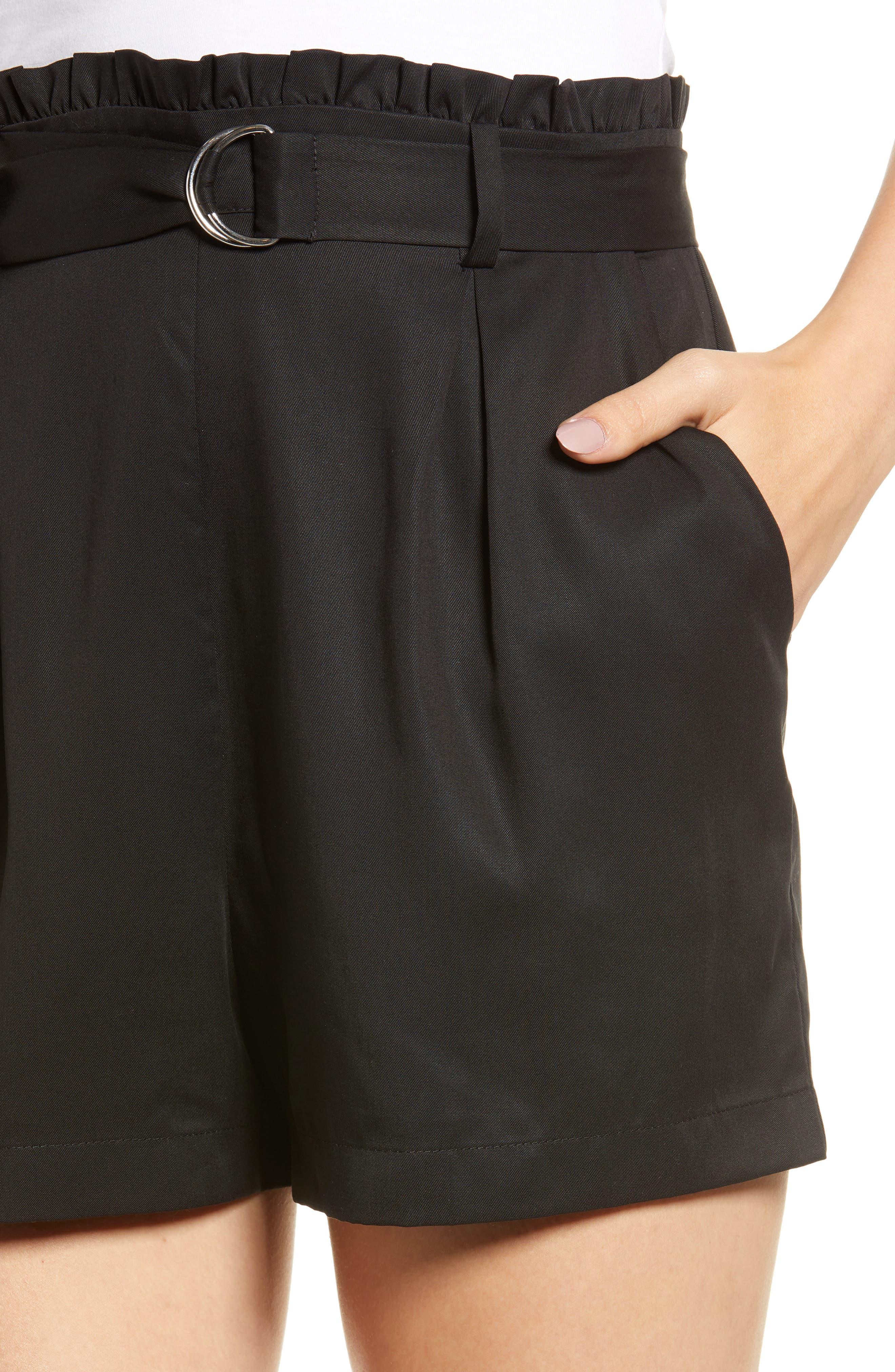 D-Ring Belted Shorts,                             Alternate thumbnail 4, color,                             BLACK