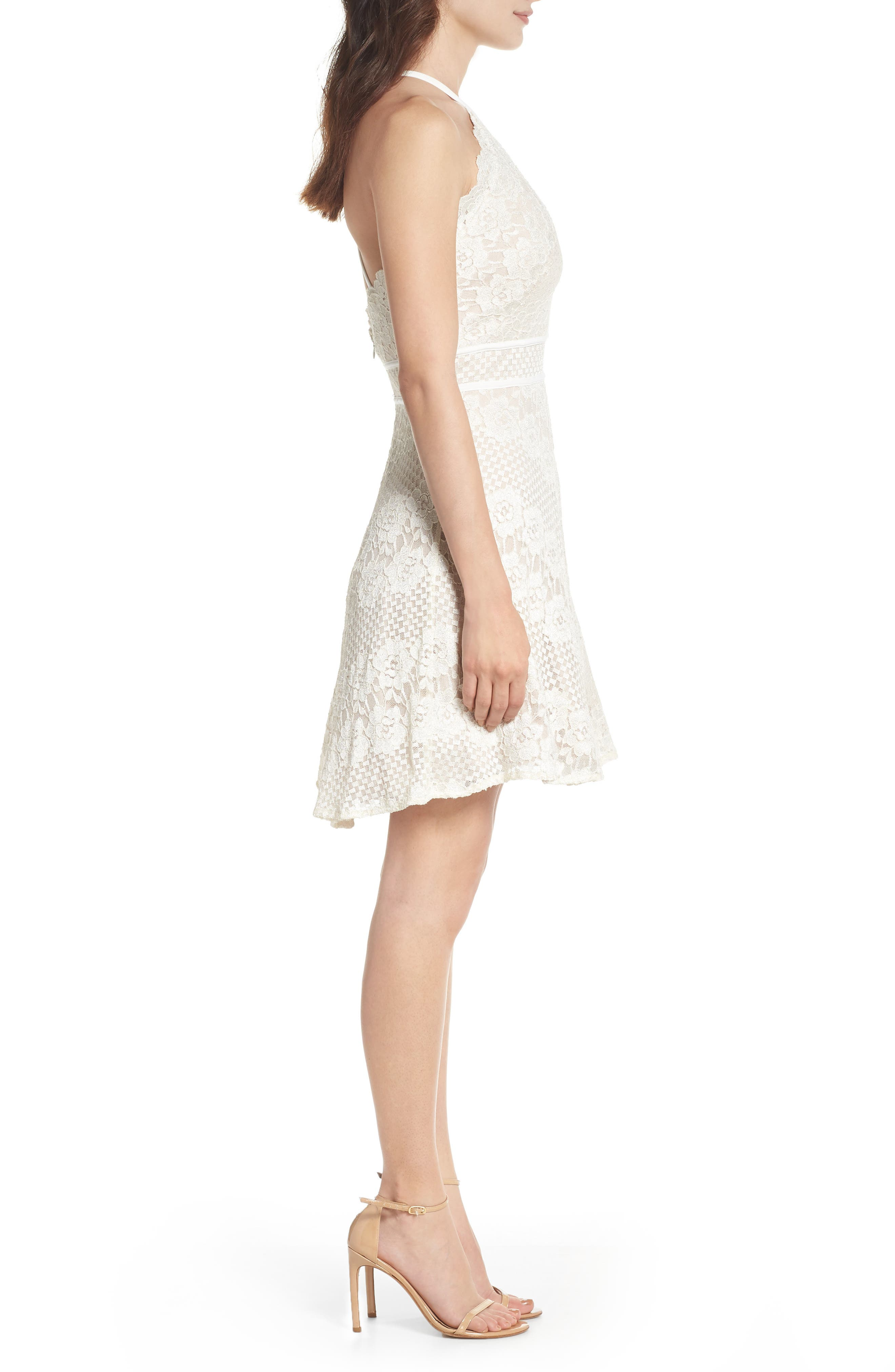 Lace Halter Dress,                             Alternate thumbnail 3, color,                             IVORY/ NUDE