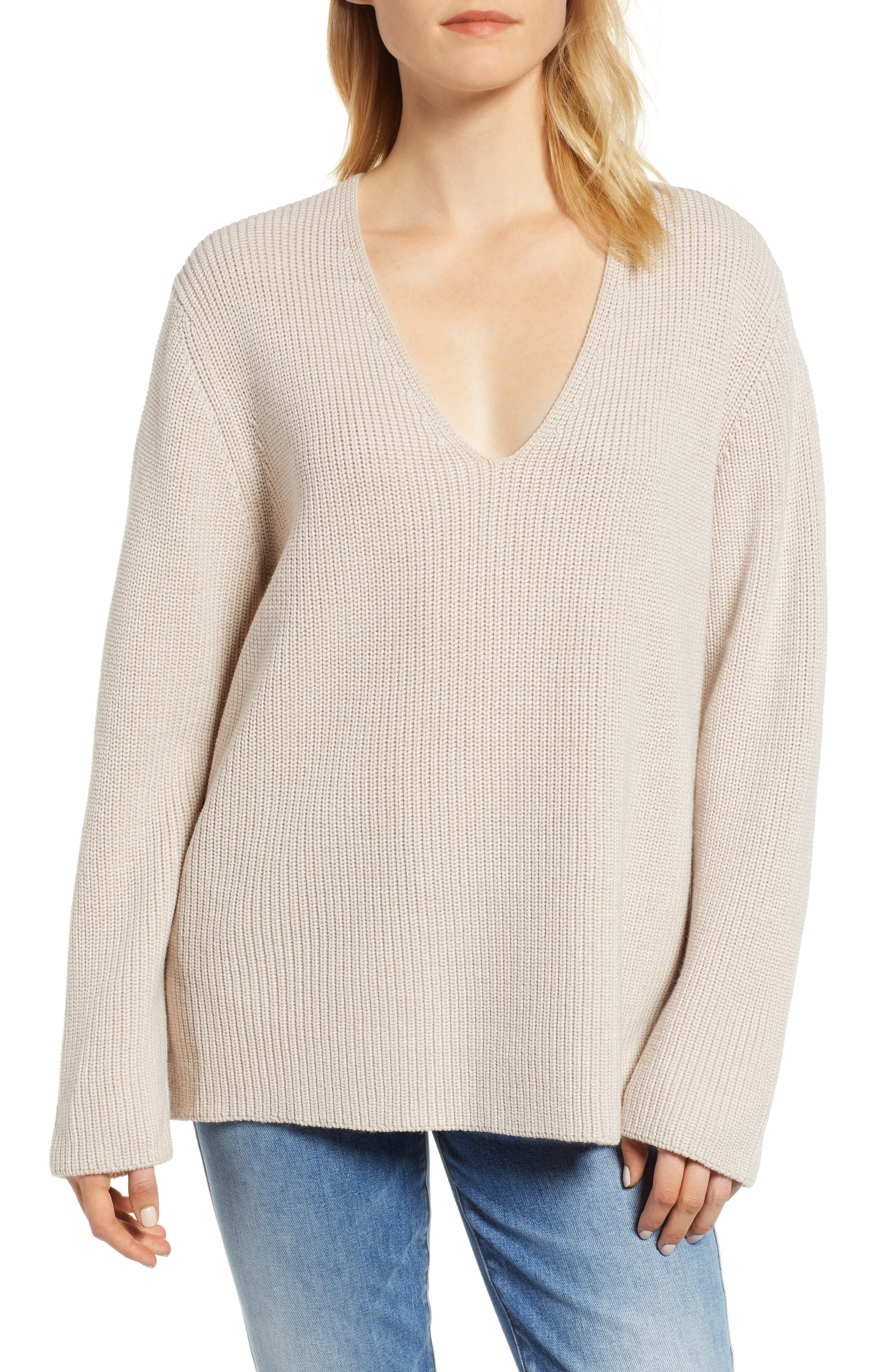 V-Neck Sweater,                             Main thumbnail 1, color,                             NUDE