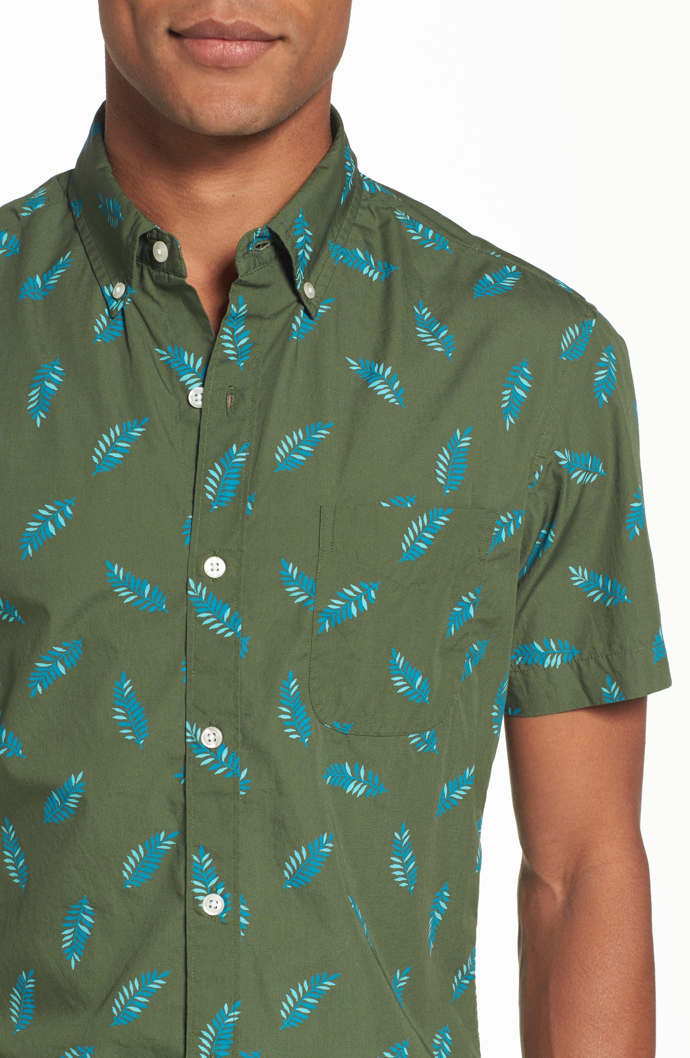 Riviera Fern Print Woven Shirt,                             Alternate thumbnail 4, color,                             300