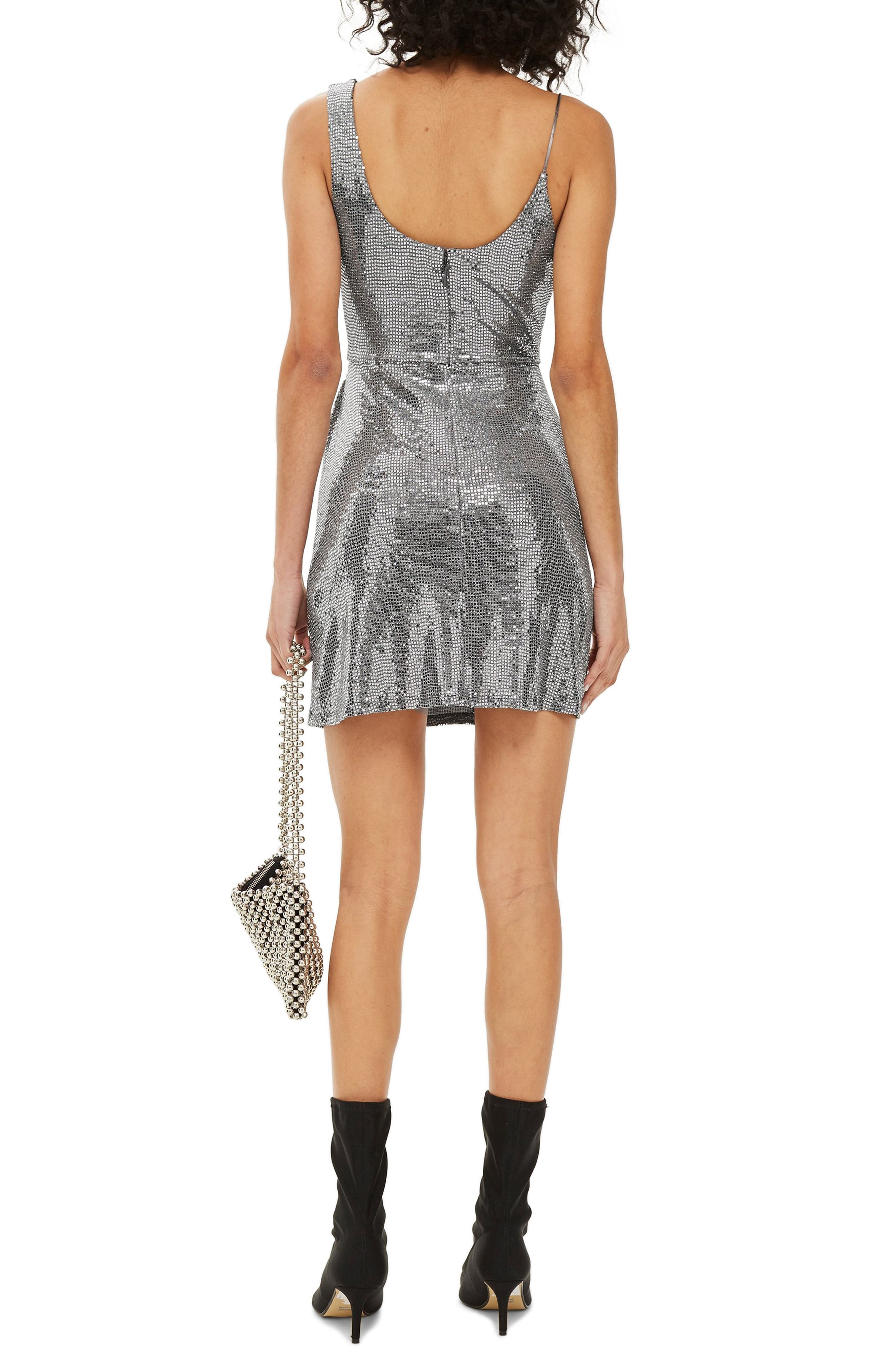 Sequin Minidress,                             Alternate thumbnail 2, color,                             SILVER