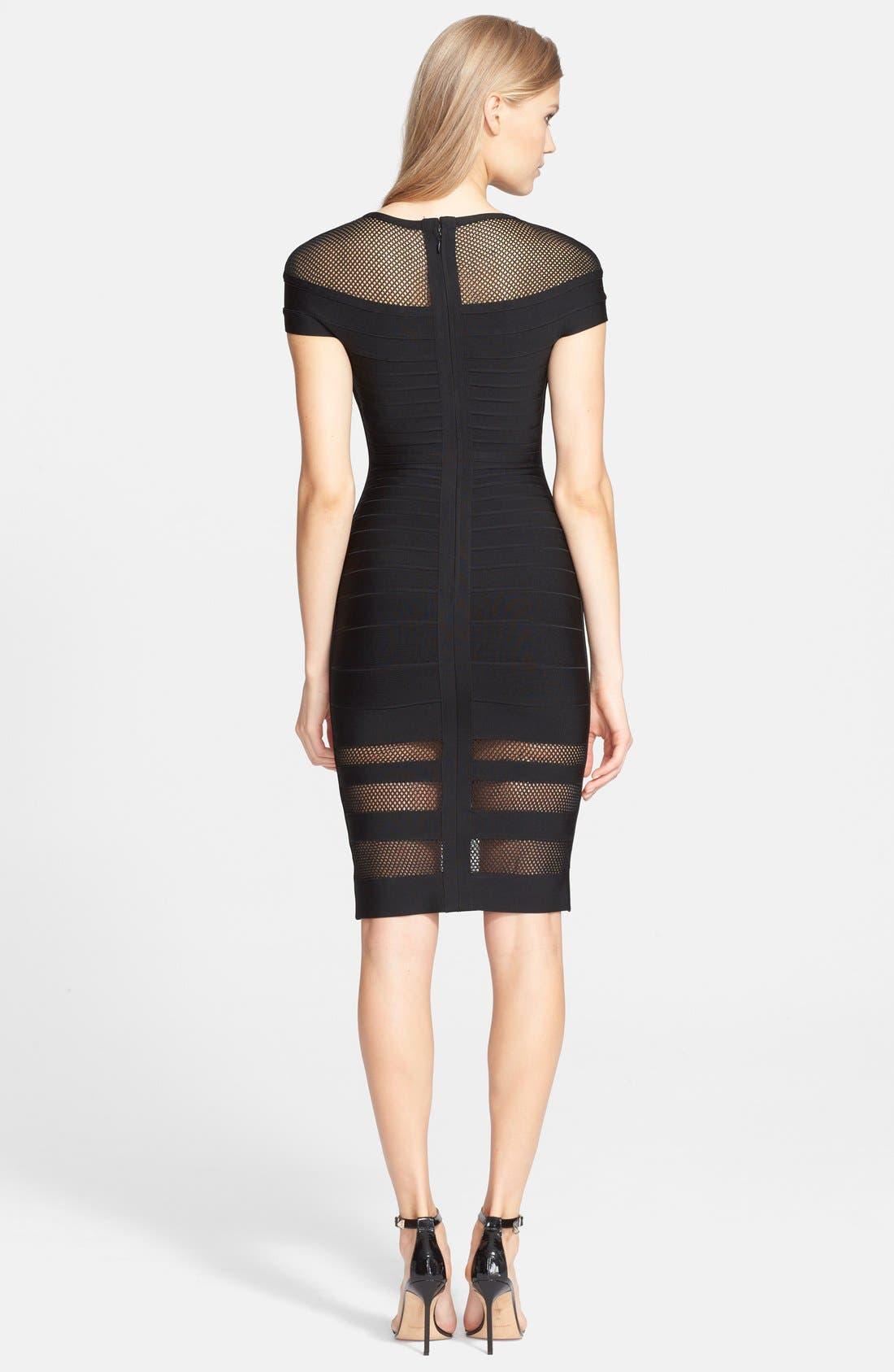 'Katrina' Mesh Inset Body-Con Bandage Dress,                             Alternate thumbnail 2, color,                             001
